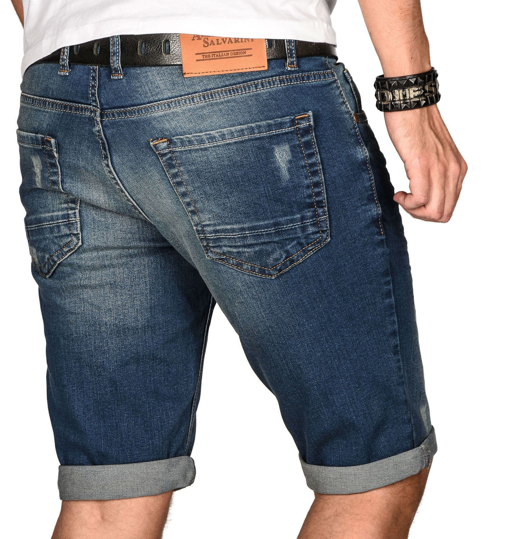 A-Salvarini-Herren-Designer-Jeans-Short-kurze-Hose-Slim-Sommer-Shorts-Bermuda Indexbild 42