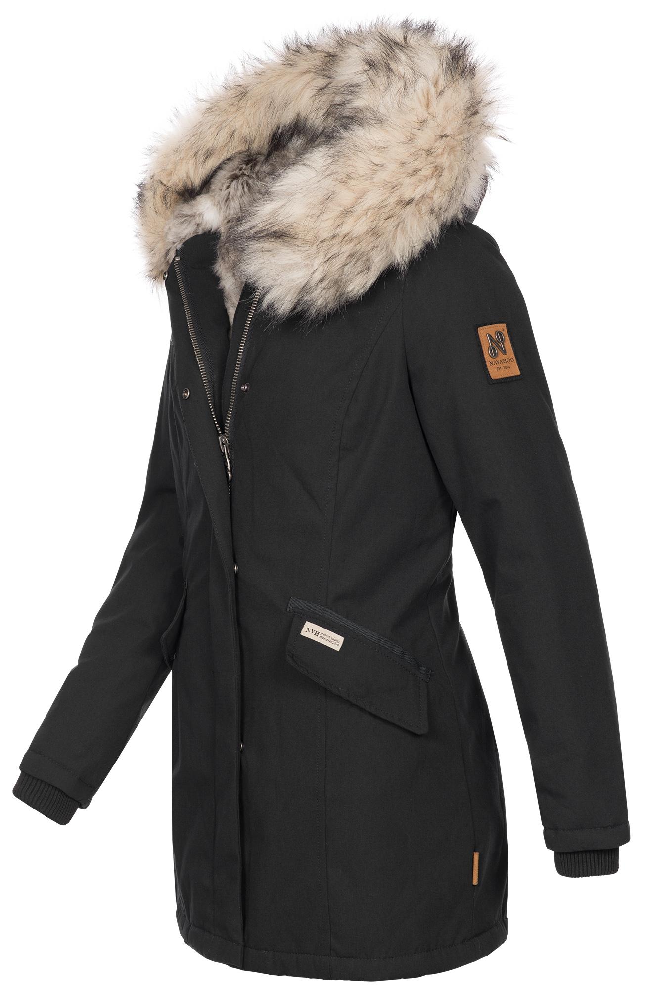 Navahoo-Premium-Damen-Winter-Jacke-Parka-Mantel-Winterjacke-warm-Kunstfell-B669 Indexbild 4