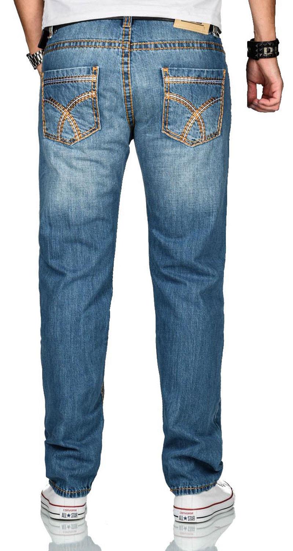 A-Salvarini-Herren-Jeans-Hose-dicke-Naehte-Jeanshose-Comfort-Fit-gerades-Bein Indexbild 14