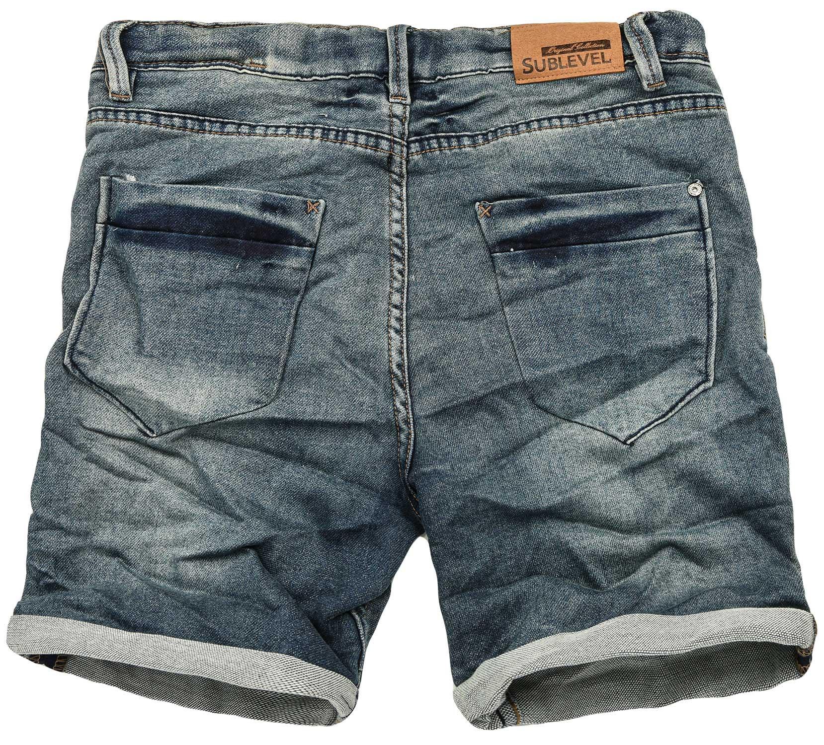 Sublevel-Herren-Sweat-Jeans-Shorts-kurze-Hose-Bermuda-Sommer-Sweathose-Slim-NEU Indexbild 44