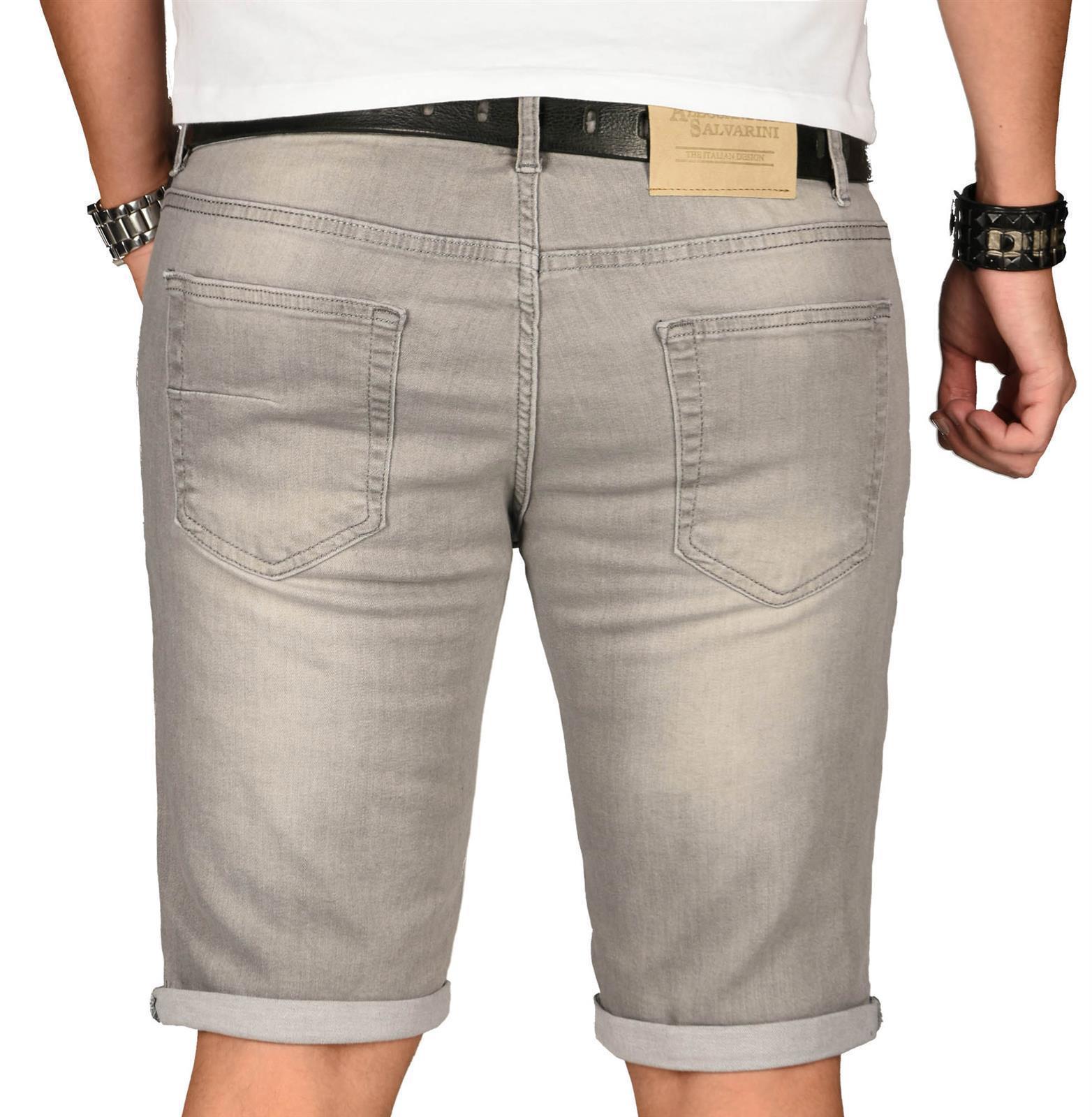 A-Salvarini-Herren-Designer-Jeans-Short-kurze-Hose-Slim-Sommer-Shorts-Washed Indexbild 41