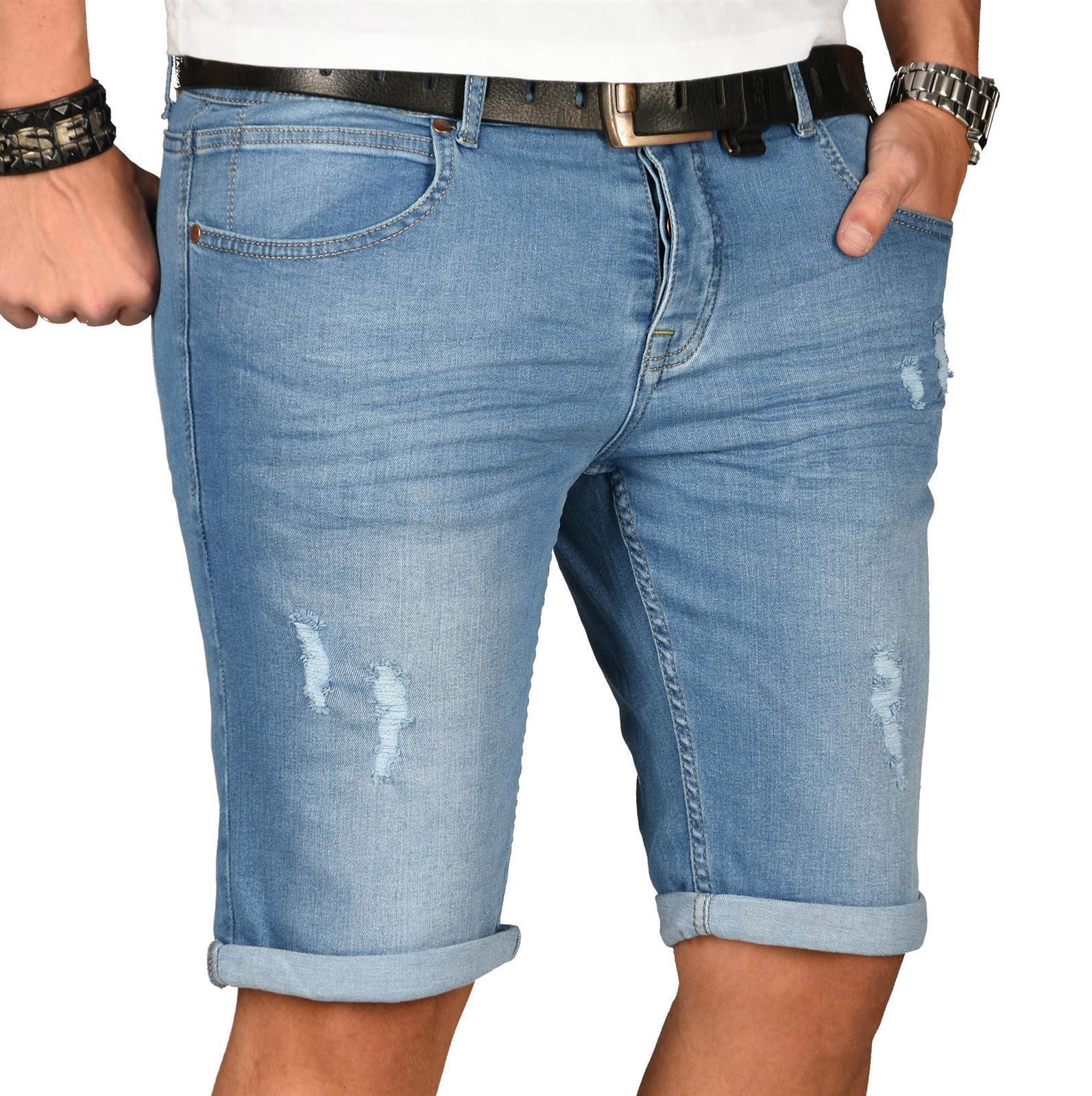 A-Salvarini-Herren-Designer-Jeans-Short-kurze-Hose-Slim-Sommer-Shorts-Washed Indexbild 19