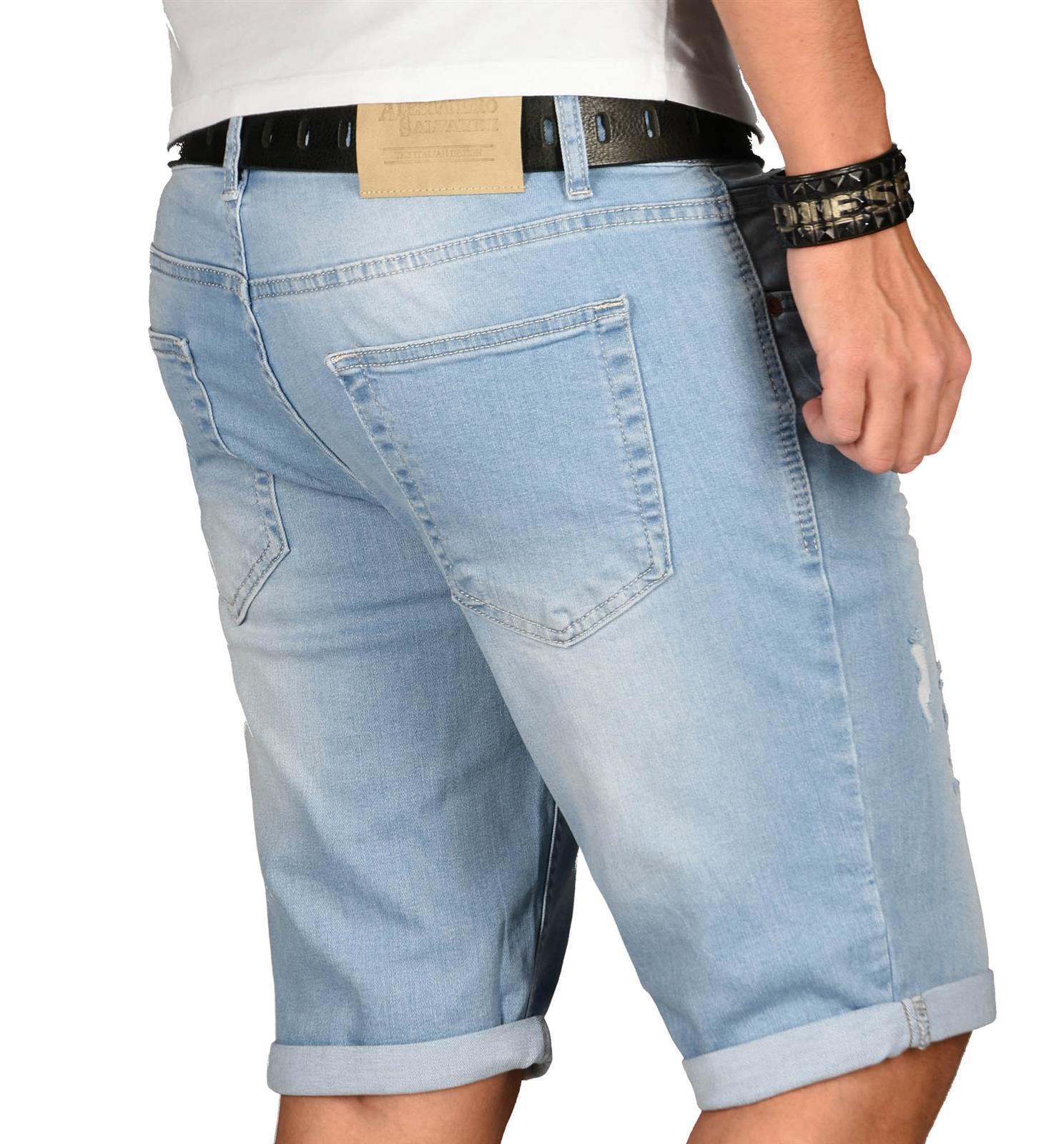 A-Salvarini-Herren-Designer-Jeans-Short-kurze-Hose-Slim-Sommer-Shorts-Washed Indexbild 16