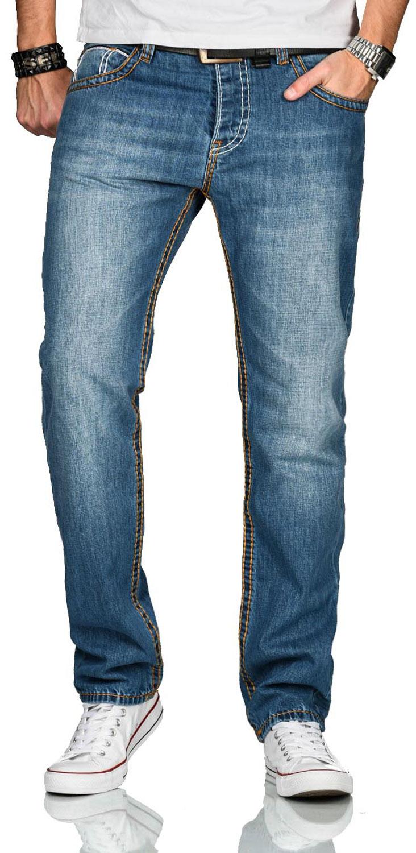 A-Salvarini-Herren-Jeans-Hose-dicke-Naehte-Jeanshose-Comfort-Fit-gerades-Bein Indexbild 11