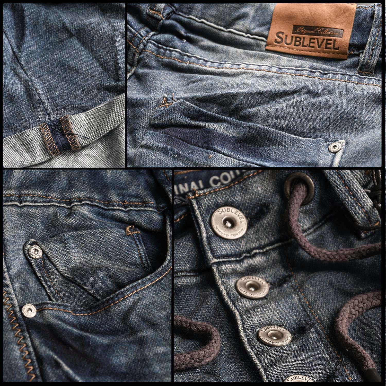 Sublevel-Herren-Sweat-Jeans-Shorts-kurze-Hose-Bermuda-Sommer-Sweathose-Slim-NEU Indexbild 45