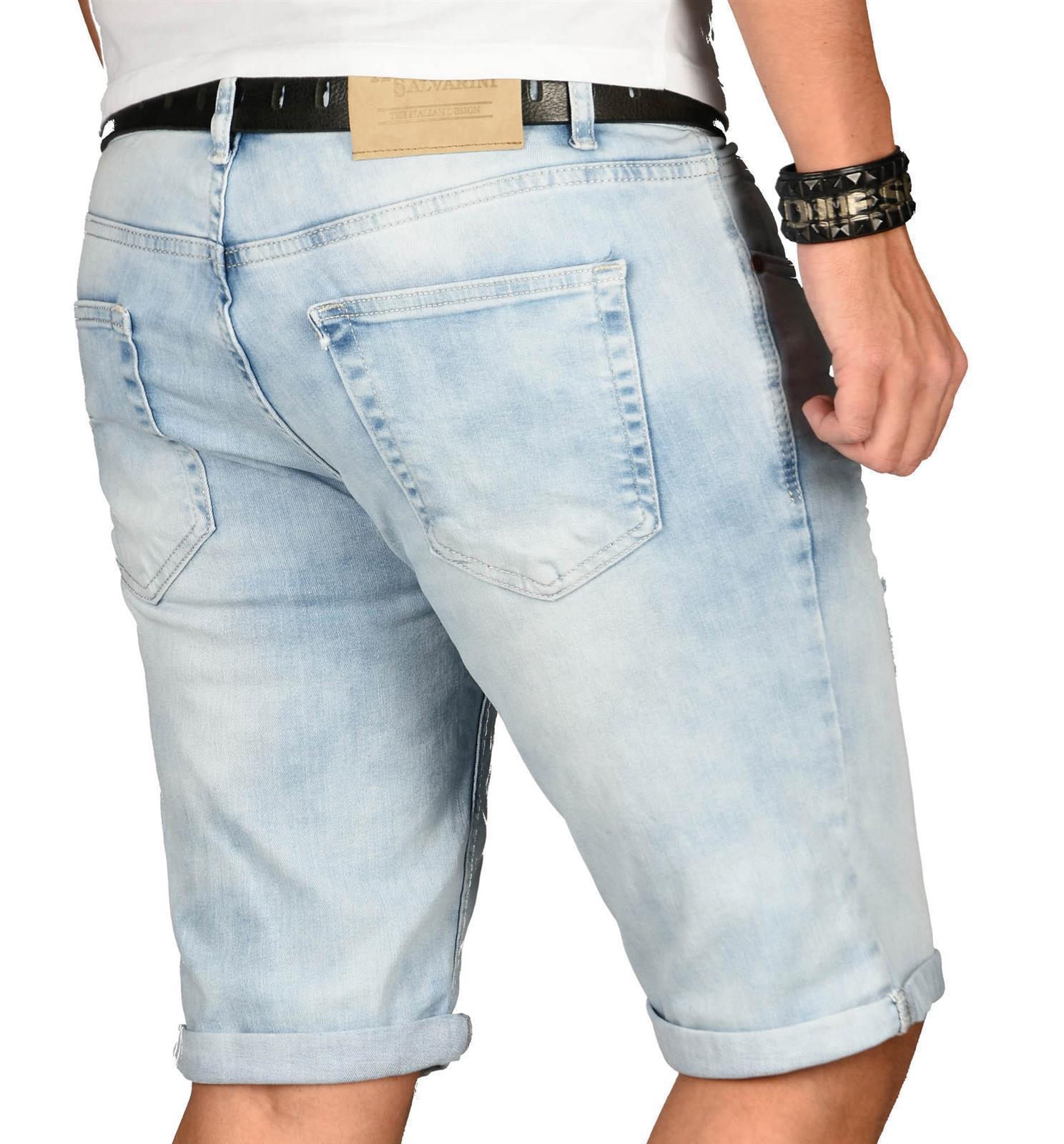 A-Salvarini-Herren-Designer-Jeans-Short-kurze-Hose-Slim-Sommer-Shorts-Washed Indexbild 12