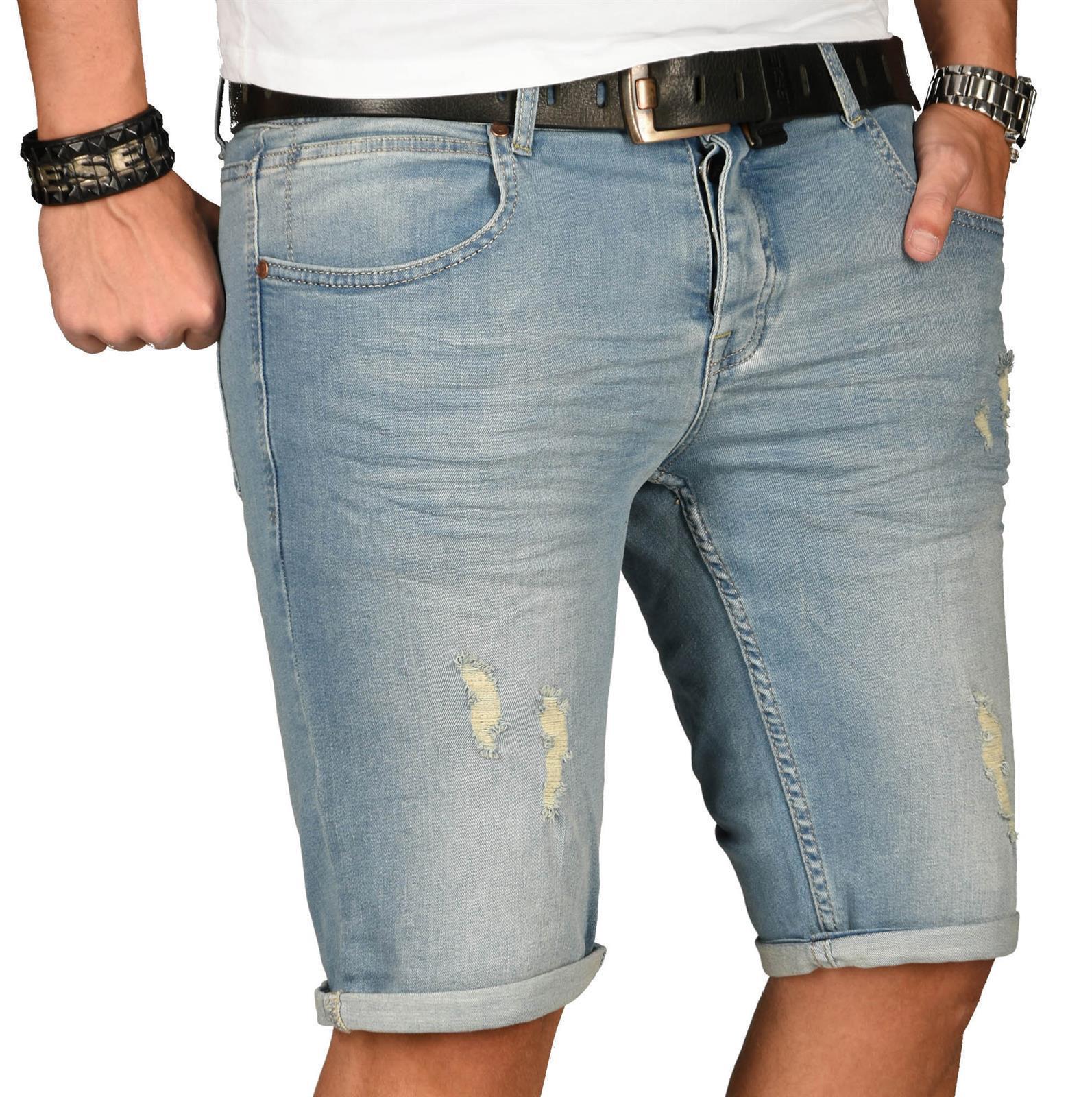 A-Salvarini-Herren-Designer-Jeans-Short-kurze-Hose-Slim-Sommer-Shorts-Washed Indexbild 23
