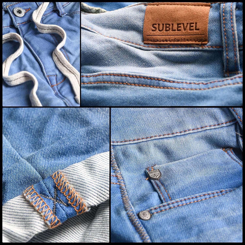 Sublevel-Herren-Sweat-Jeans-Shorts-kurze-Hose-Bermuda-Sommer-Sweathose-Slim-NEU Indexbild 54