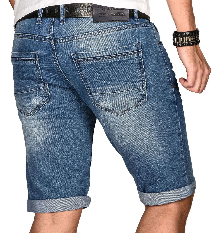 A-Salvarini-Herren-Designer-Jeans-Short-kurze-Hose-Slim-Sommer-Shorts-Bermuda Indexbild 4