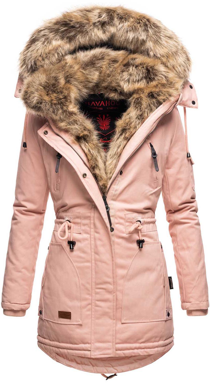 Navahoo warme Damen Winter Jacke Parka lang Mantel ...