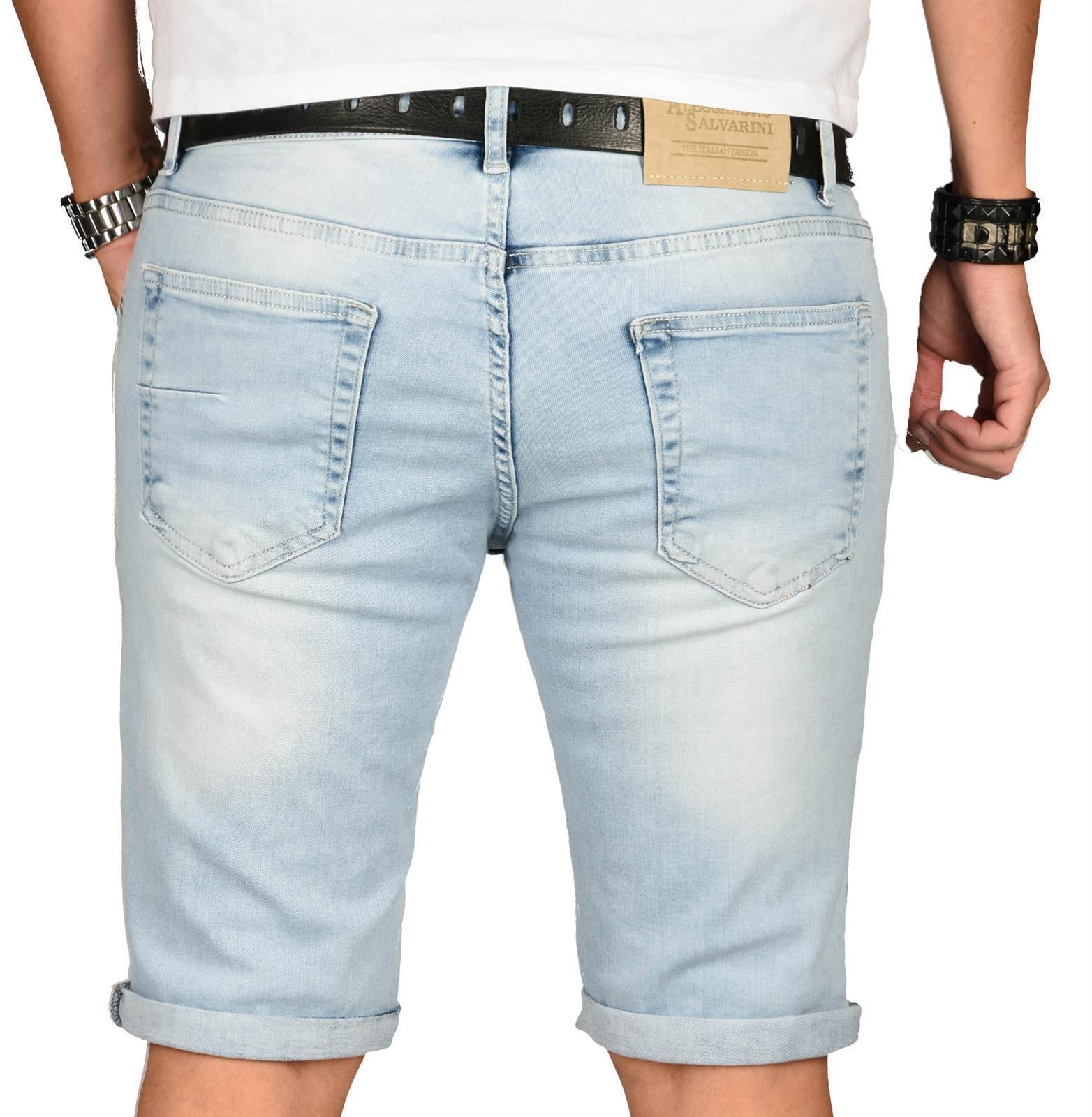 A-Salvarini-Herren-Designer-Jeans-Short-kurze-Hose-Slim-Sommer-Shorts-Washed Indexbild 9