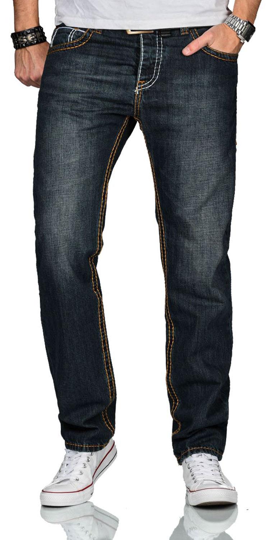 A-Salvarini-Herren-Jeans-Hose-dicke-Naehte-Jeanshose-Comfort-Fit-gerades-Bein Indexbild 3