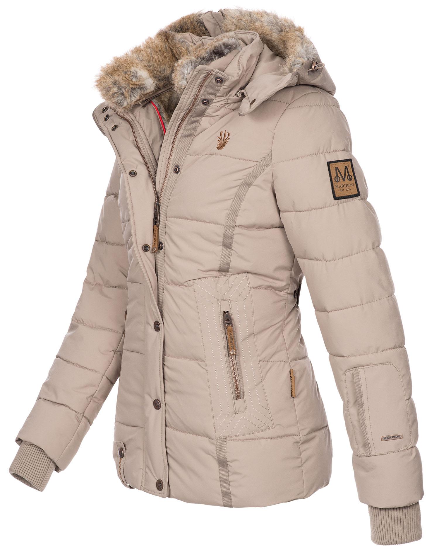 Marikoo warme Damen Winter Jacke Winterjacke Steppjacke gef/üttert Kunstfell B618