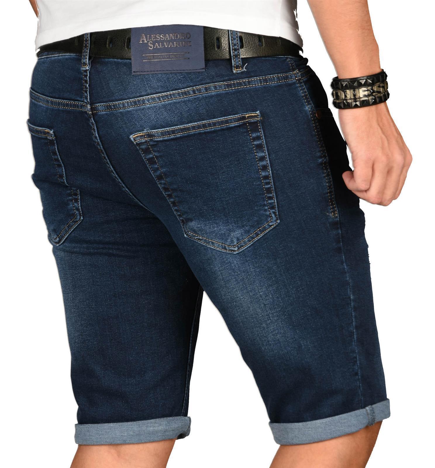 A-Salvarini-Herren-Designer-Jeans-Short-kurze-Hose-Slim-Sommer-Shorts-Washed Indexbild 36