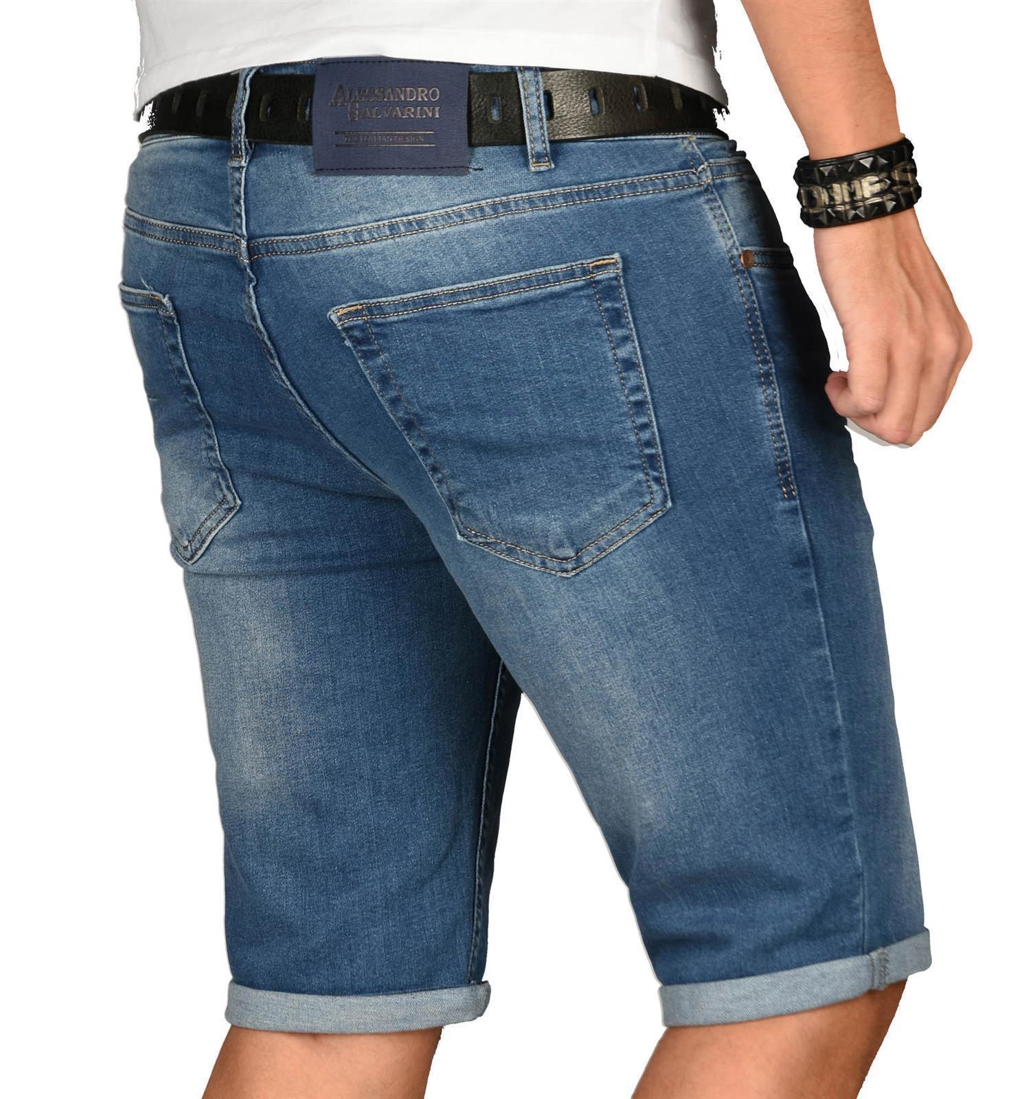 A-Salvarini-Herren-Designer-Jeans-Short-kurze-Hose-Slim-Sommer-Shorts-Washed Indexbild 28