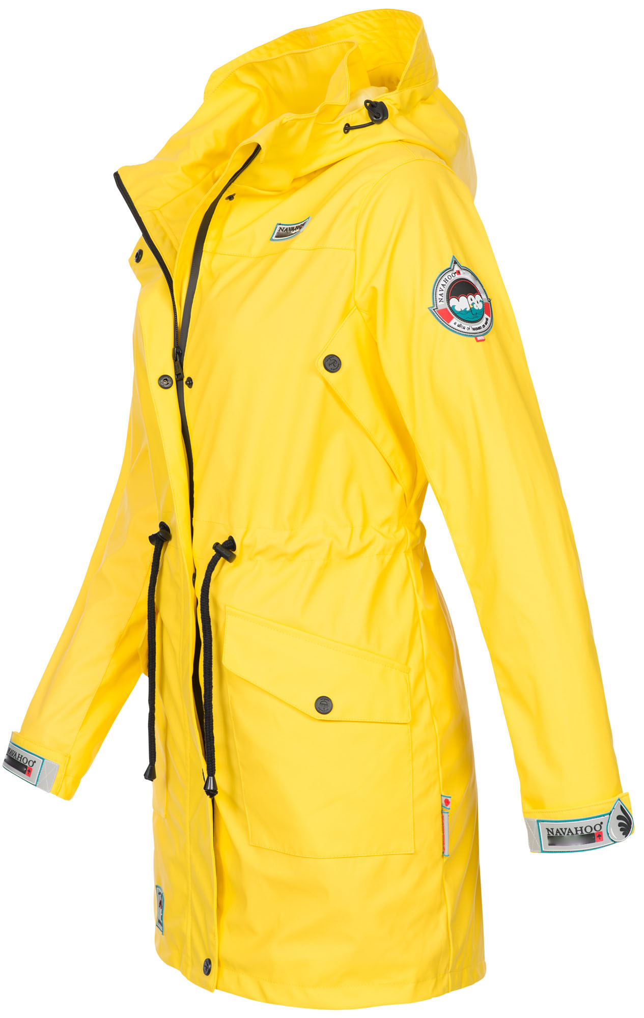 Navahoo Damen Regenjacke Regenmantel lang Teddyfell Jacke Mantel Kapuze B678 NEU