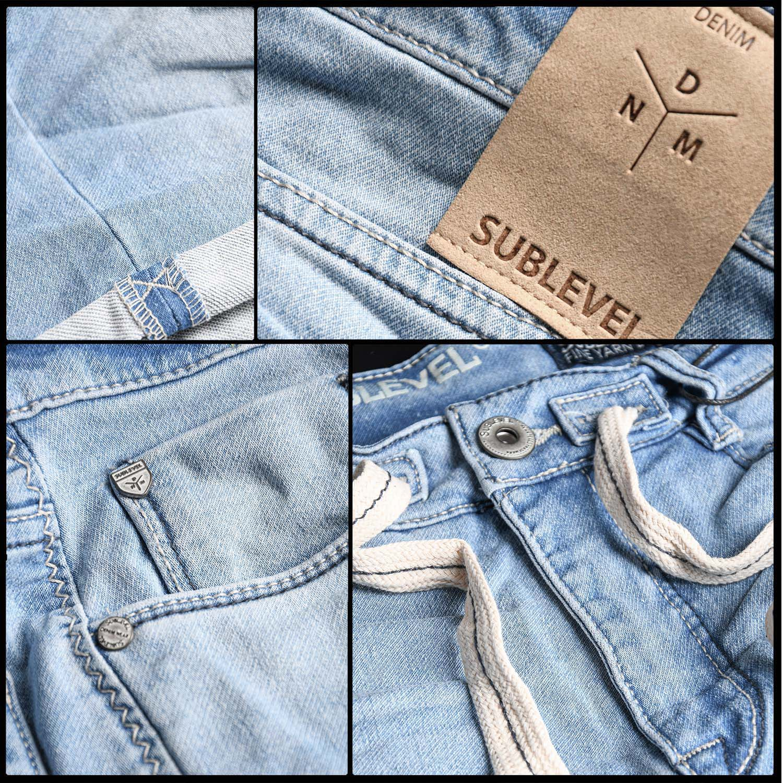 Sublevel-Herren-Sweat-Jeans-Shorts-kurze-Hose-Bermuda-Sommer-Sweathose-Slim-NEU Indexbild 19