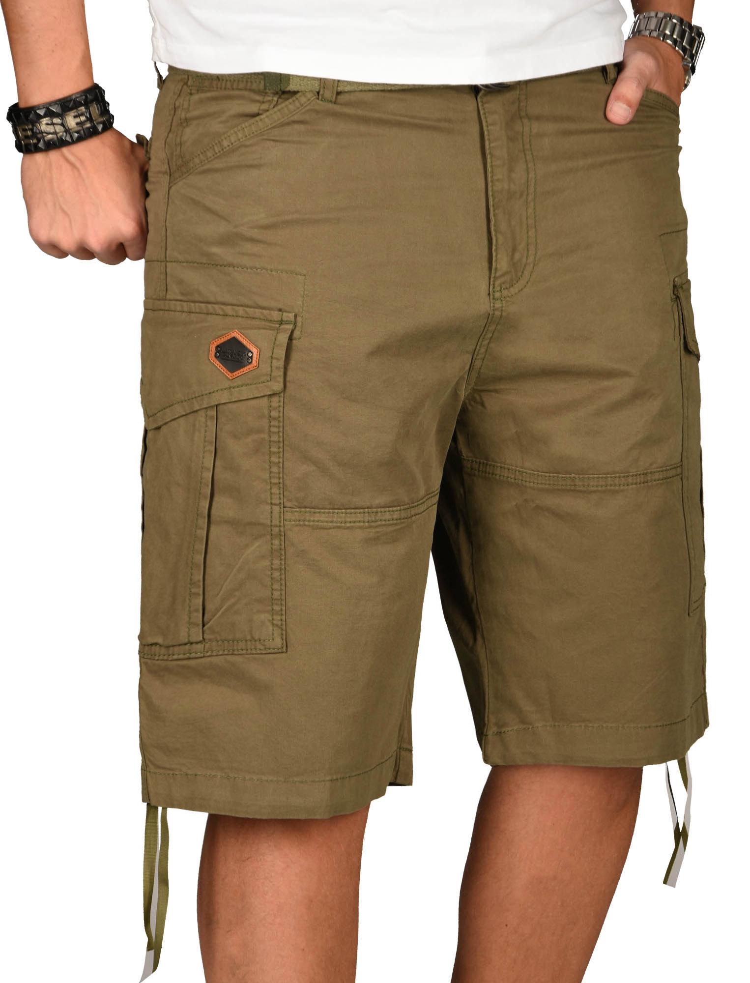 A-Salvarini-Herren-Comfort-Cargo-Shorts-Cargoshorts-kurze-Hose-Guertel-AS133-NEU Indexbild 23