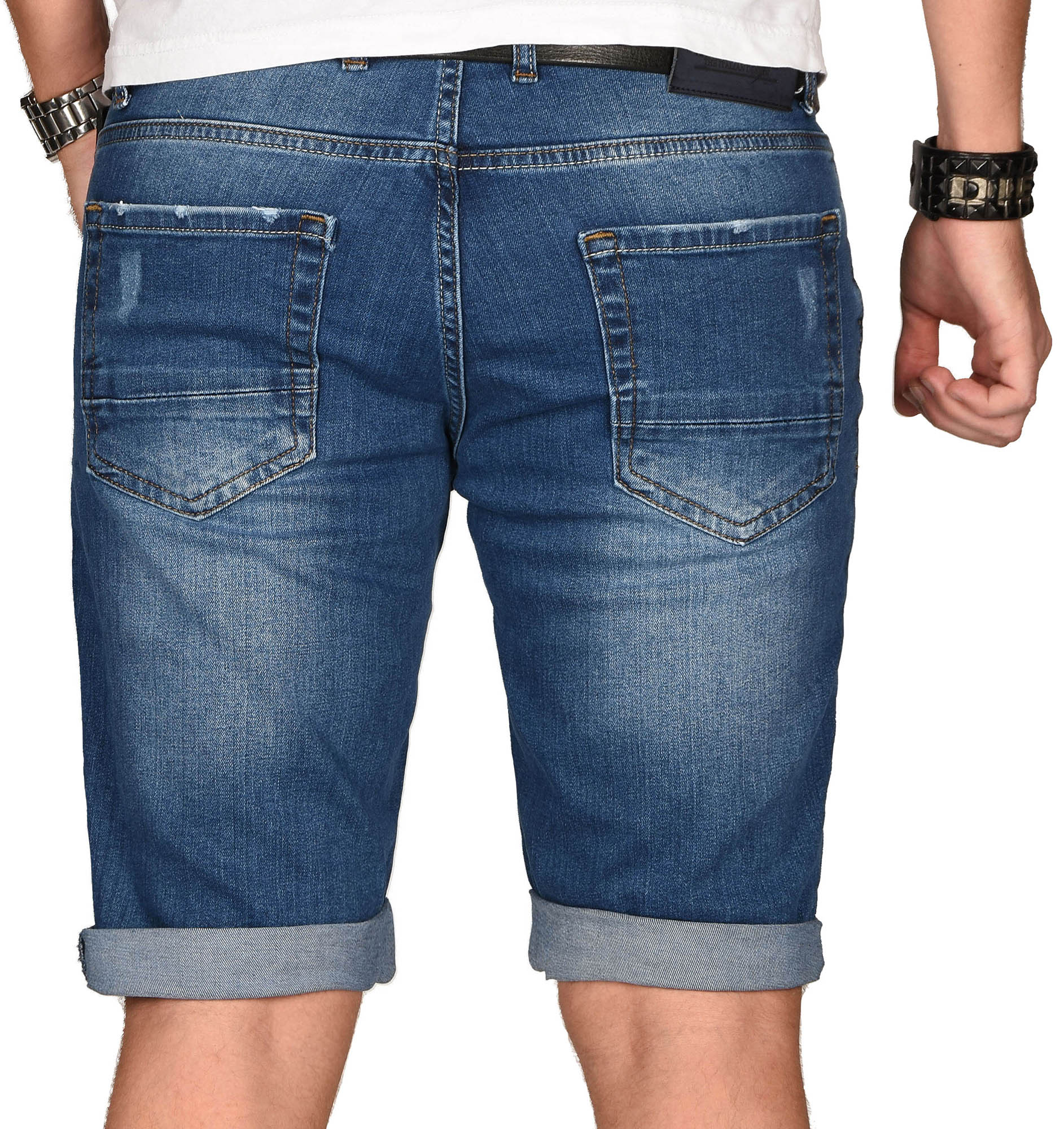 A-Salvarini-Herren-Designer-Jeans-Short-kurze-Hose-Slim-Sommer-Shorts-Bermuda Indexbild 23