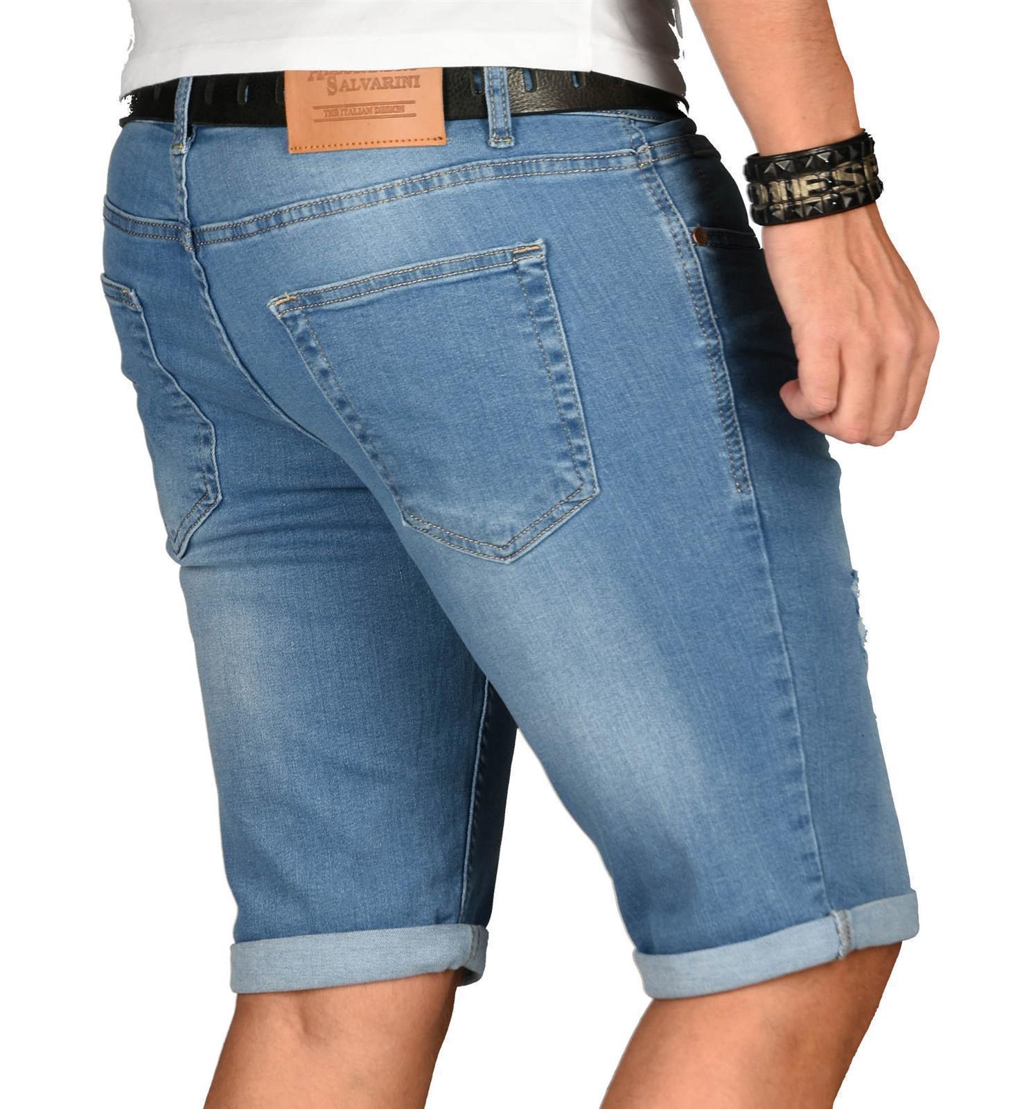 A-Salvarini-Herren-Designer-Jeans-Short-kurze-Hose-Slim-Sommer-Shorts-Washed Indexbild 20
