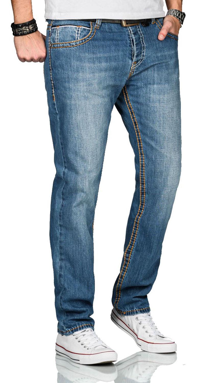 A-Salvarini-Herren-Jeans-Hose-dicke-Naehte-Jeanshose-Comfort-Fit-gerades-Bein Indexbild 12
