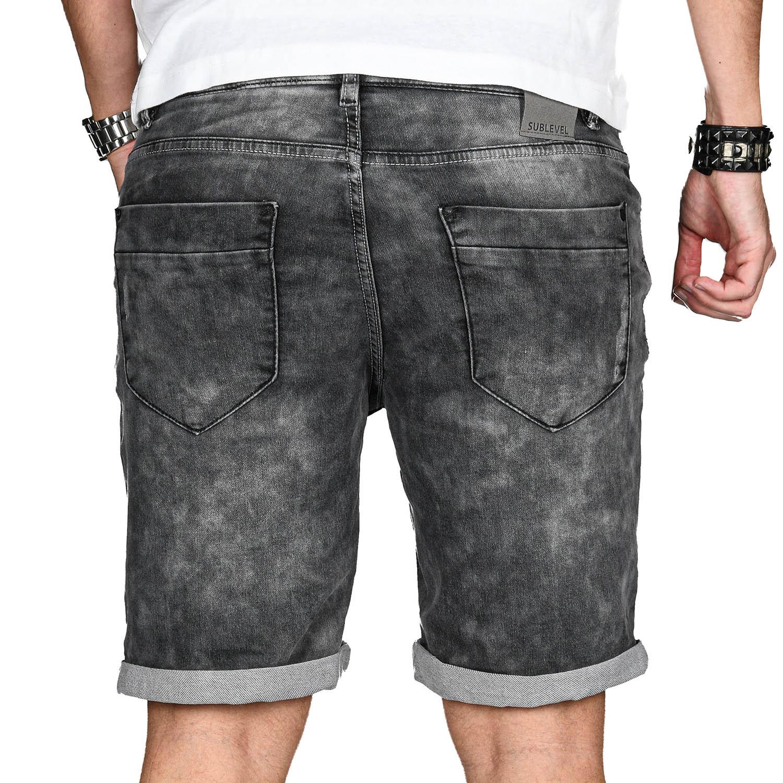 Sublevel-Herren-Sweat-Jeans-Shorts-kurze-Hose-Bermuda-Sommer-Sweathose-Slim-NEU Indexbild 60
