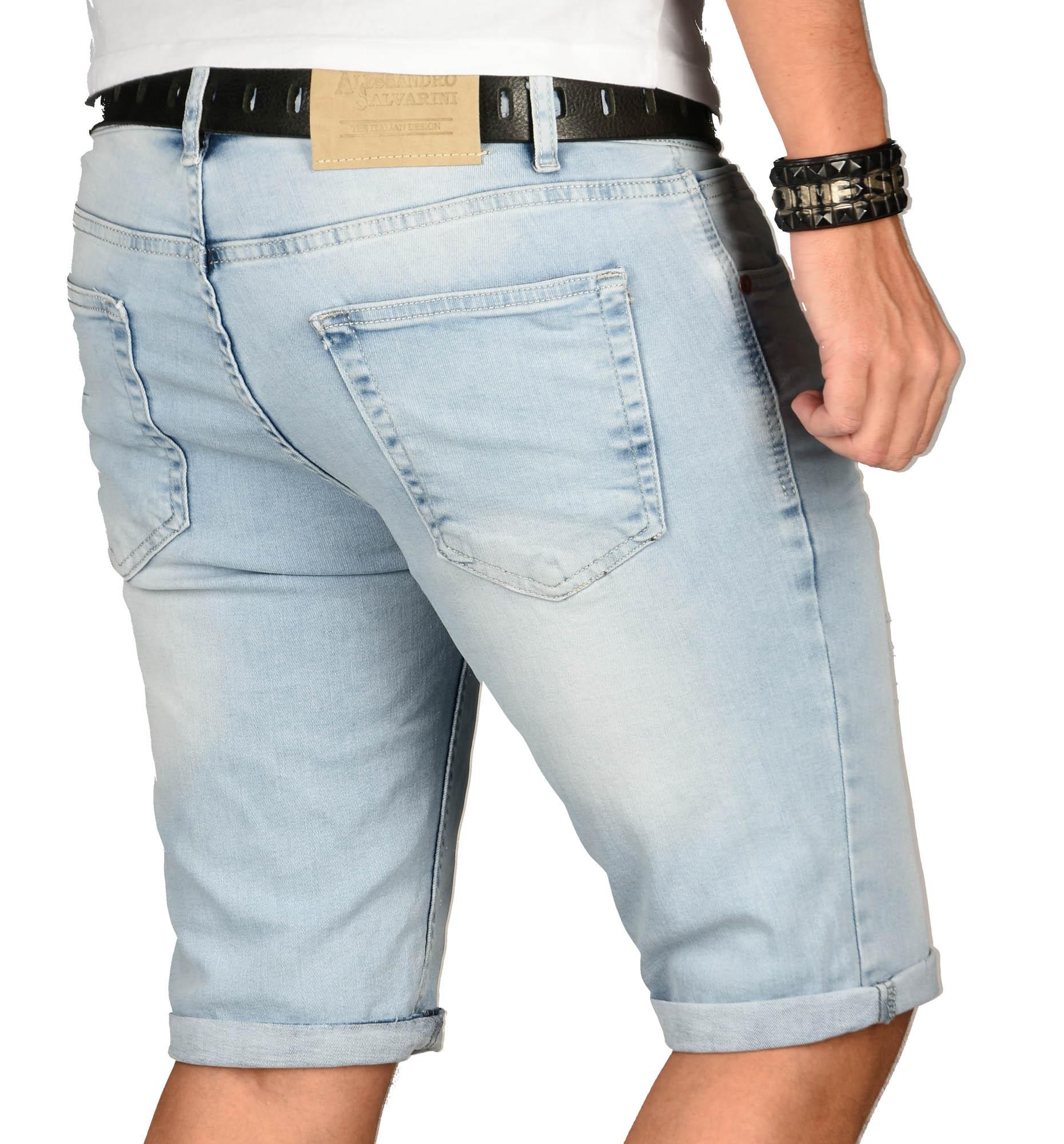A-Salvarini-Herren-Designer-Jeans-Short-kurze-Hose-Slim-Sommer-Shorts-Washed Indexbild 8