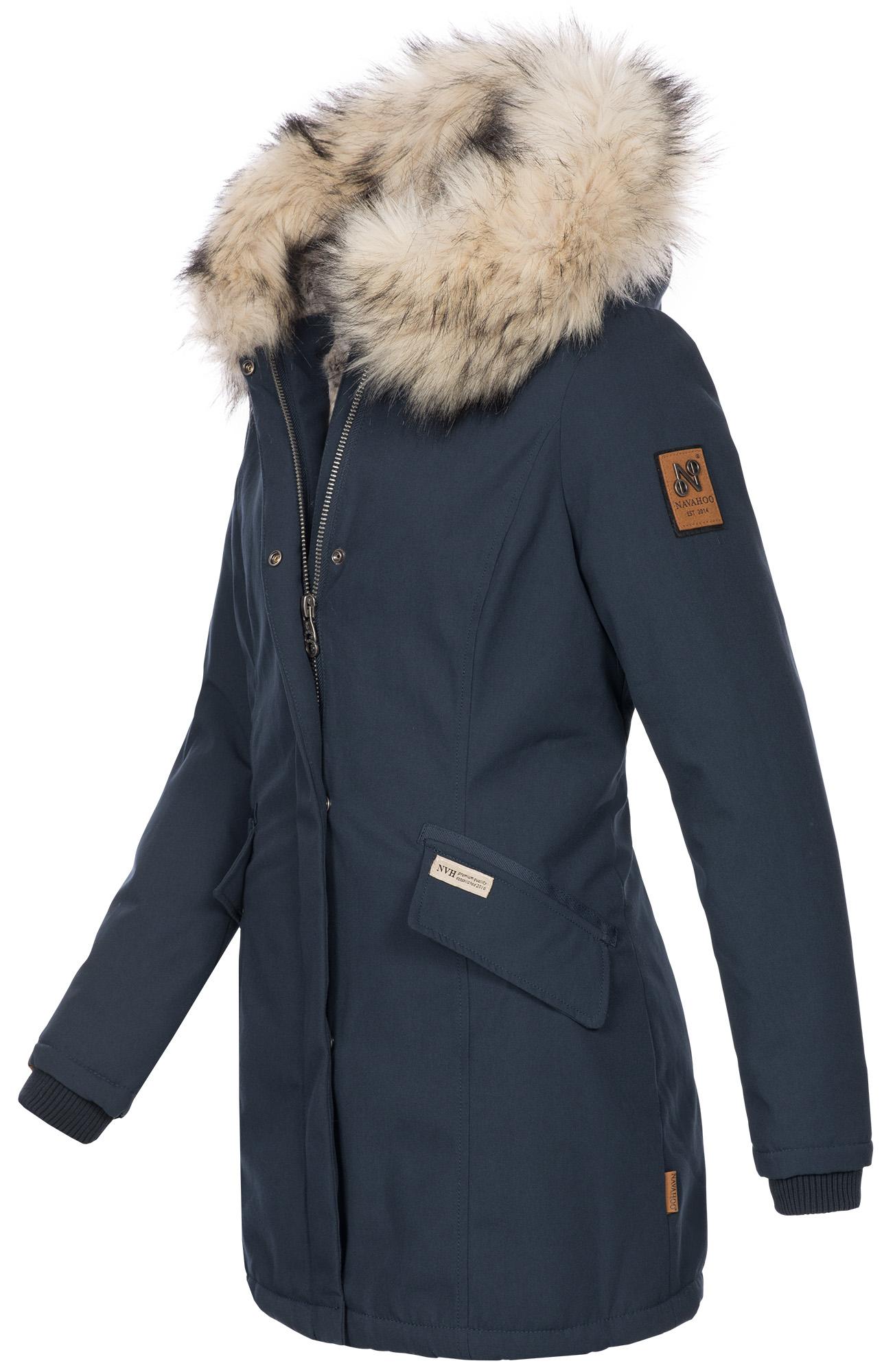 Navahoo-Premium-Damen-Winter-Jacke-Parka-Mantel-Winterjacke-warm-Kunstfell-B669 Indexbild 9