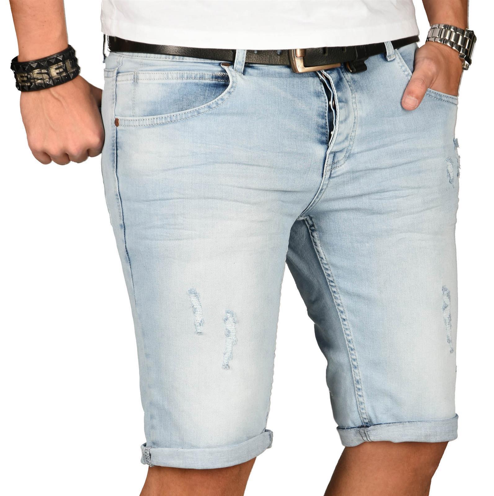 A-Salvarini-Herren-Designer-Jeans-Short-kurze-Hose-Slim-Sommer-Shorts-Washed Indexbild 7