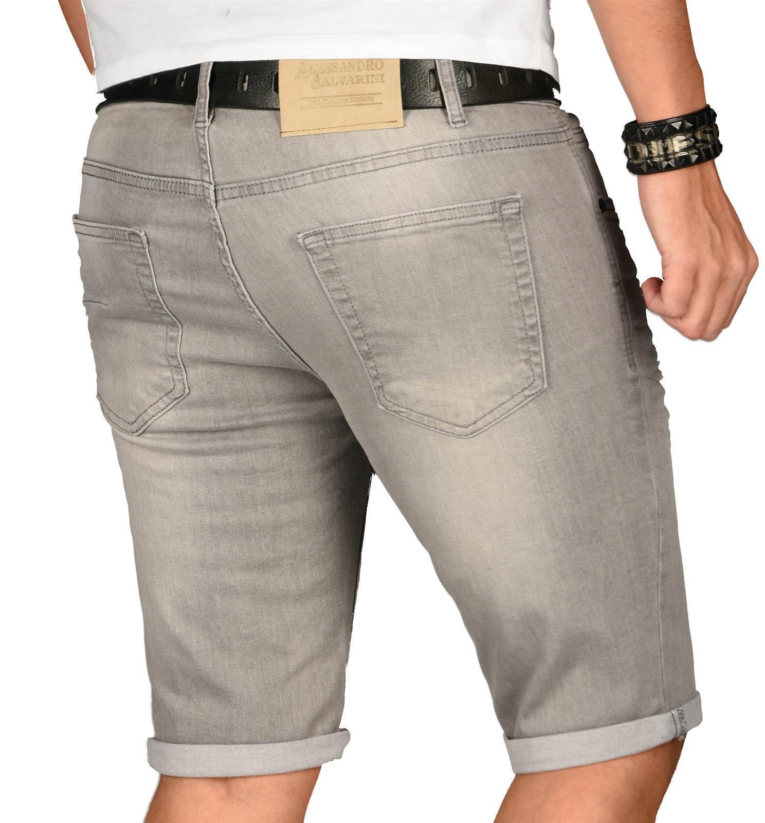 A-Salvarini-Herren-Designer-Jeans-Short-kurze-Hose-Slim-Sommer-Shorts-Washed Indexbild 40