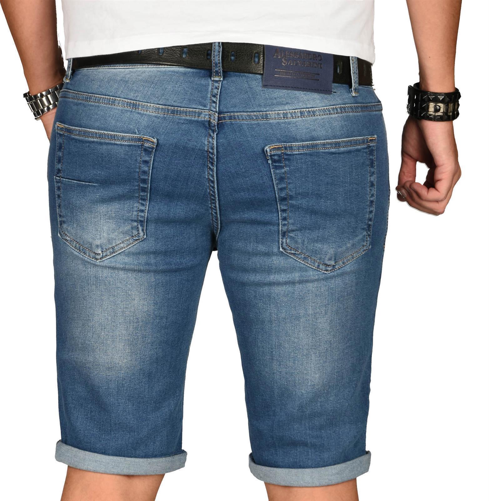 A-Salvarini-Herren-Designer-Jeans-Short-kurze-Hose-Slim-Sommer-Shorts-Washed Indexbild 29