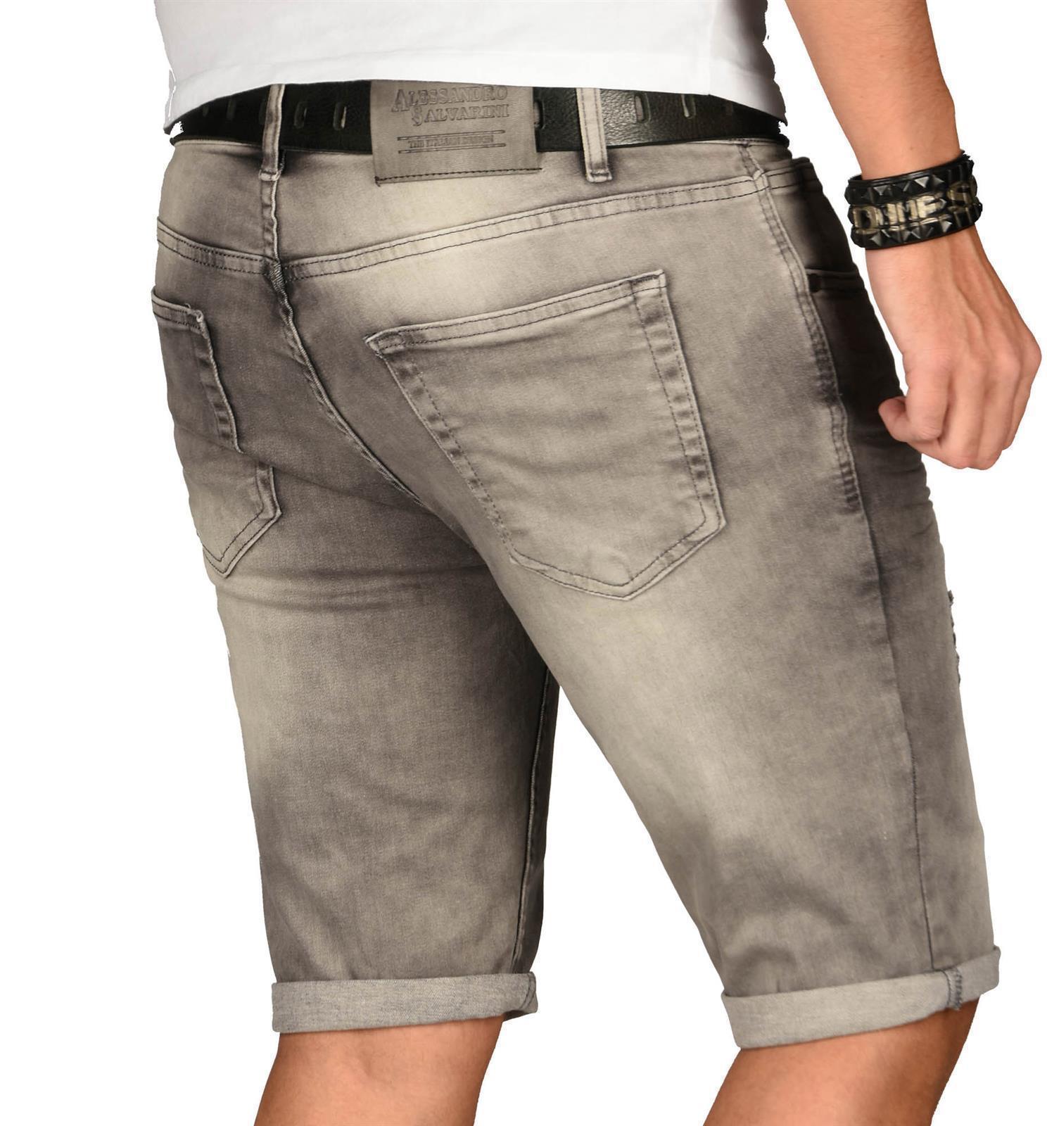 A-Salvarini-Herren-Designer-Jeans-Short-kurze-Hose-Slim-Sommer-Shorts-Washed Indexbild 44