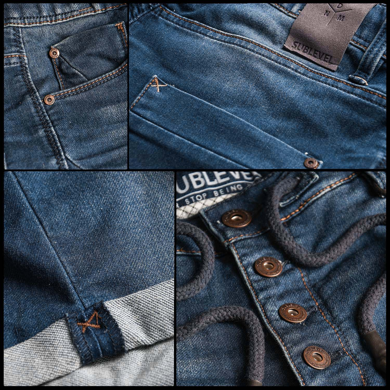Sublevel-Herren-Sweat-Jeans-Shorts-kurze-Hose-Bermuda-Sommer-Sweathose-Slim-NEU Indexbild 10