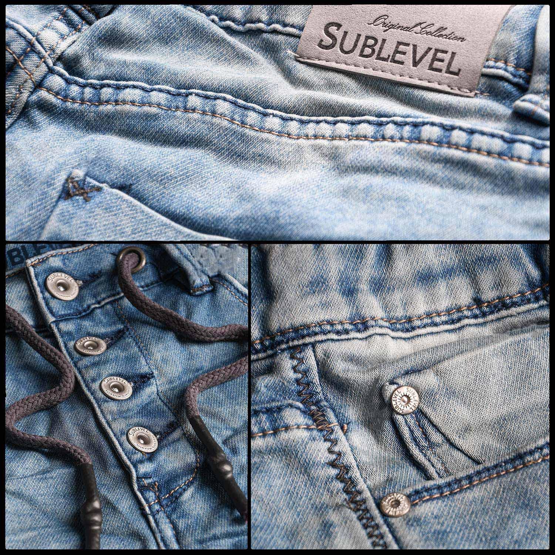 Sublevel-Herren-Sweat-Jeans-Shorts-kurze-Hose-Bermuda-Sommer-Sweathose-Slim-NEU Indexbild 32