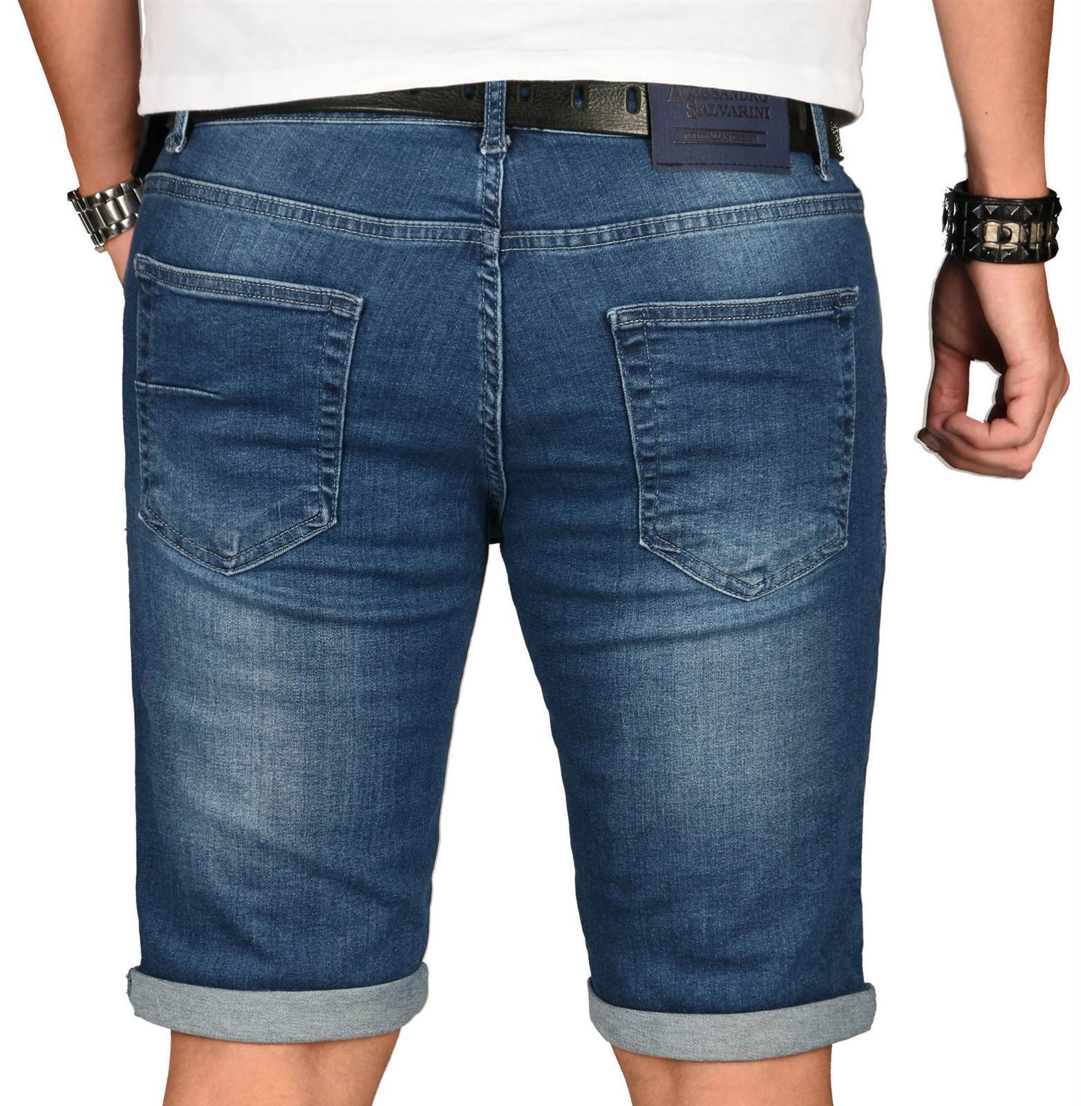 A-Salvarini-Herren-Designer-Jeans-Short-kurze-Hose-Slim-Sommer-Shorts-Washed Indexbild 33