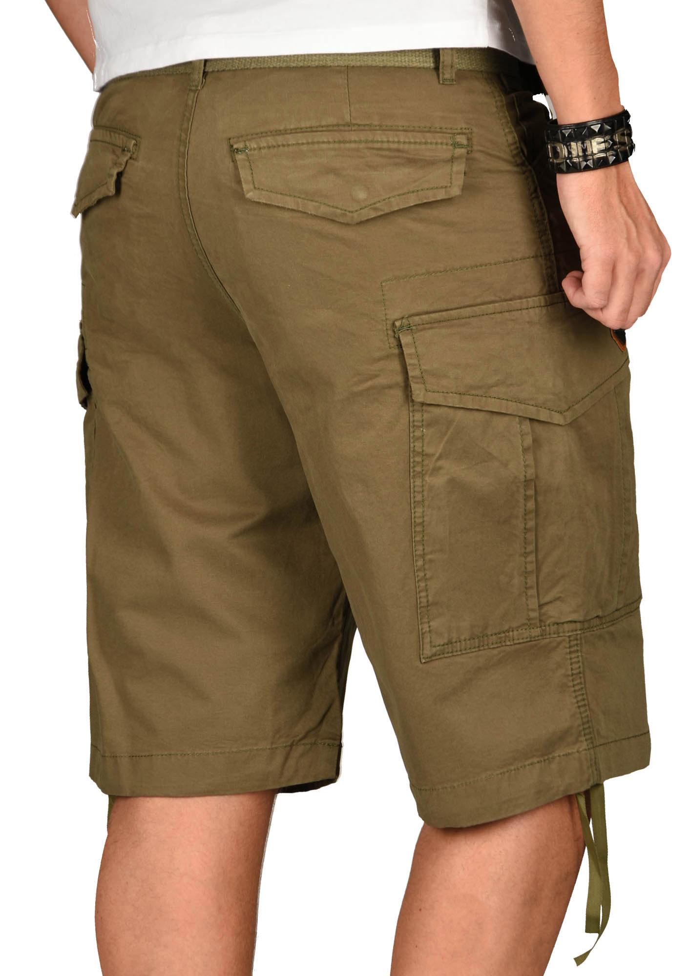 A-Salvarini-Herren-Comfort-Cargo-Shorts-Cargoshorts-kurze-Hose-Guertel-AS133-NEU Indexbild 24