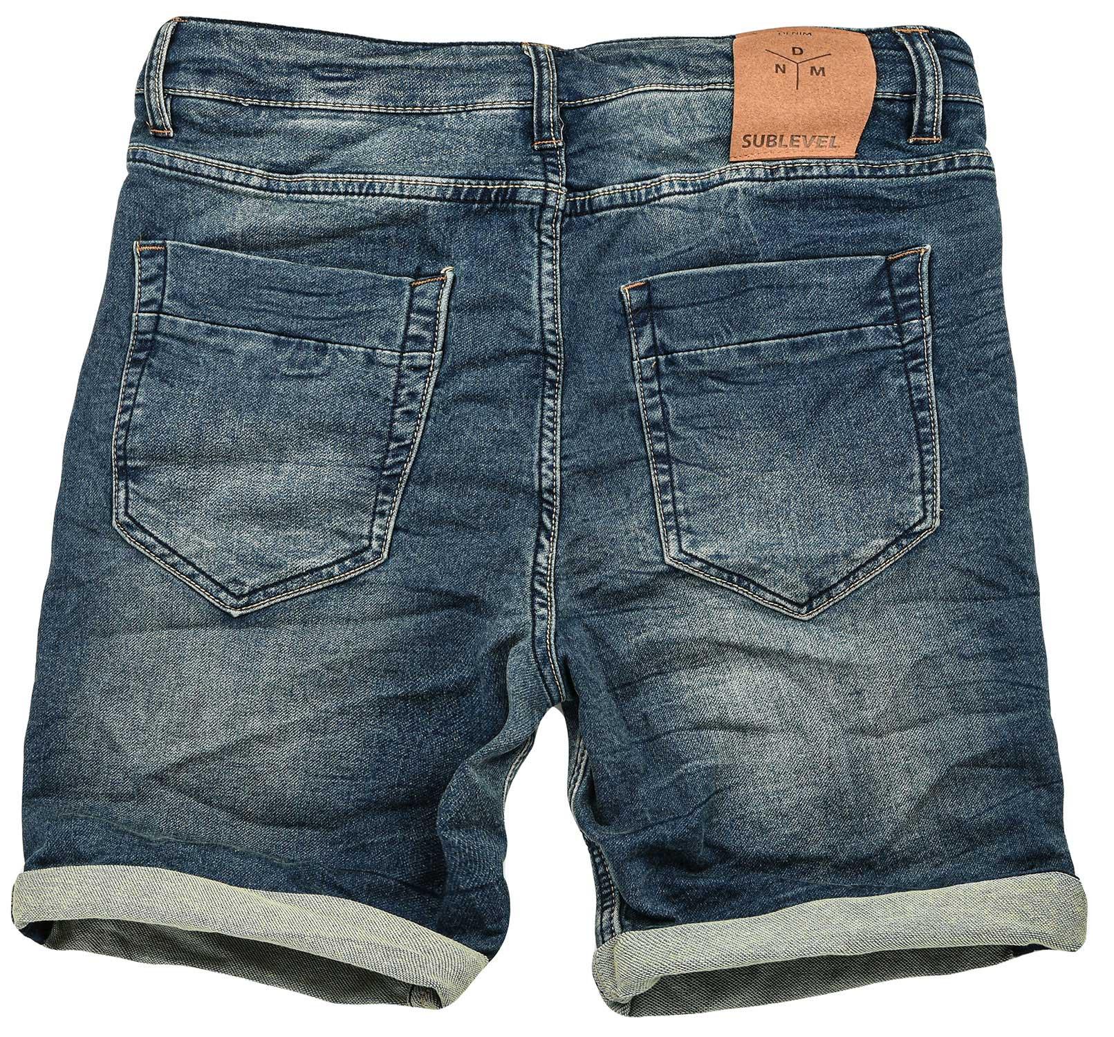 Sublevel-Herren-Sweat-Jeans-Shorts-kurze-Hose-Bermuda-Sommer-Sweathose-Slim-NEU Indexbild 50