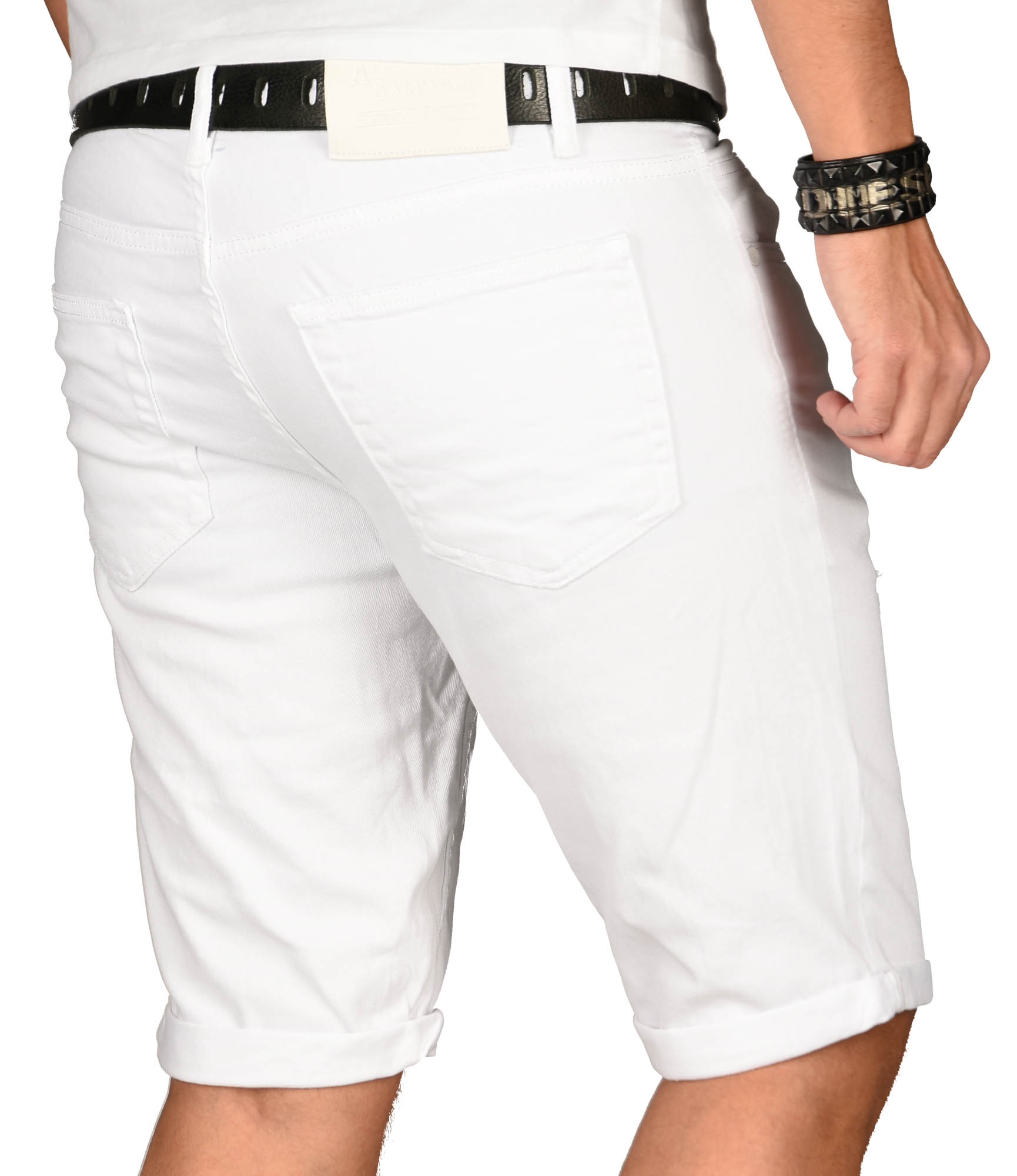 A-Salvarini-Herren-Designer-Jeans-Short-kurze-Hose-Slim-Sommer-Shorts-Washed Indexbild 4