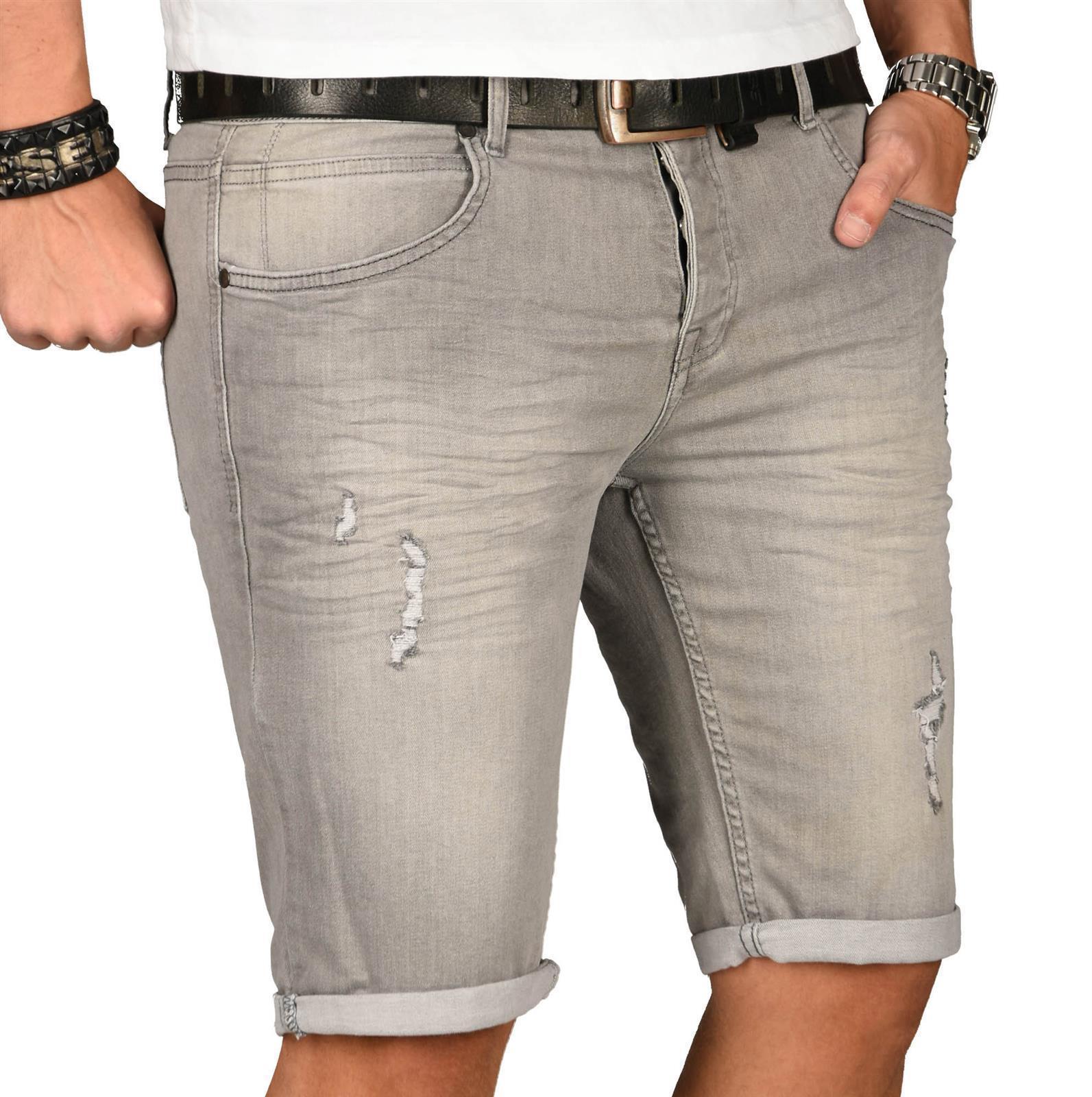 A-Salvarini-Herren-Designer-Jeans-Short-kurze-Hose-Slim-Sommer-Shorts-Washed Indexbild 39