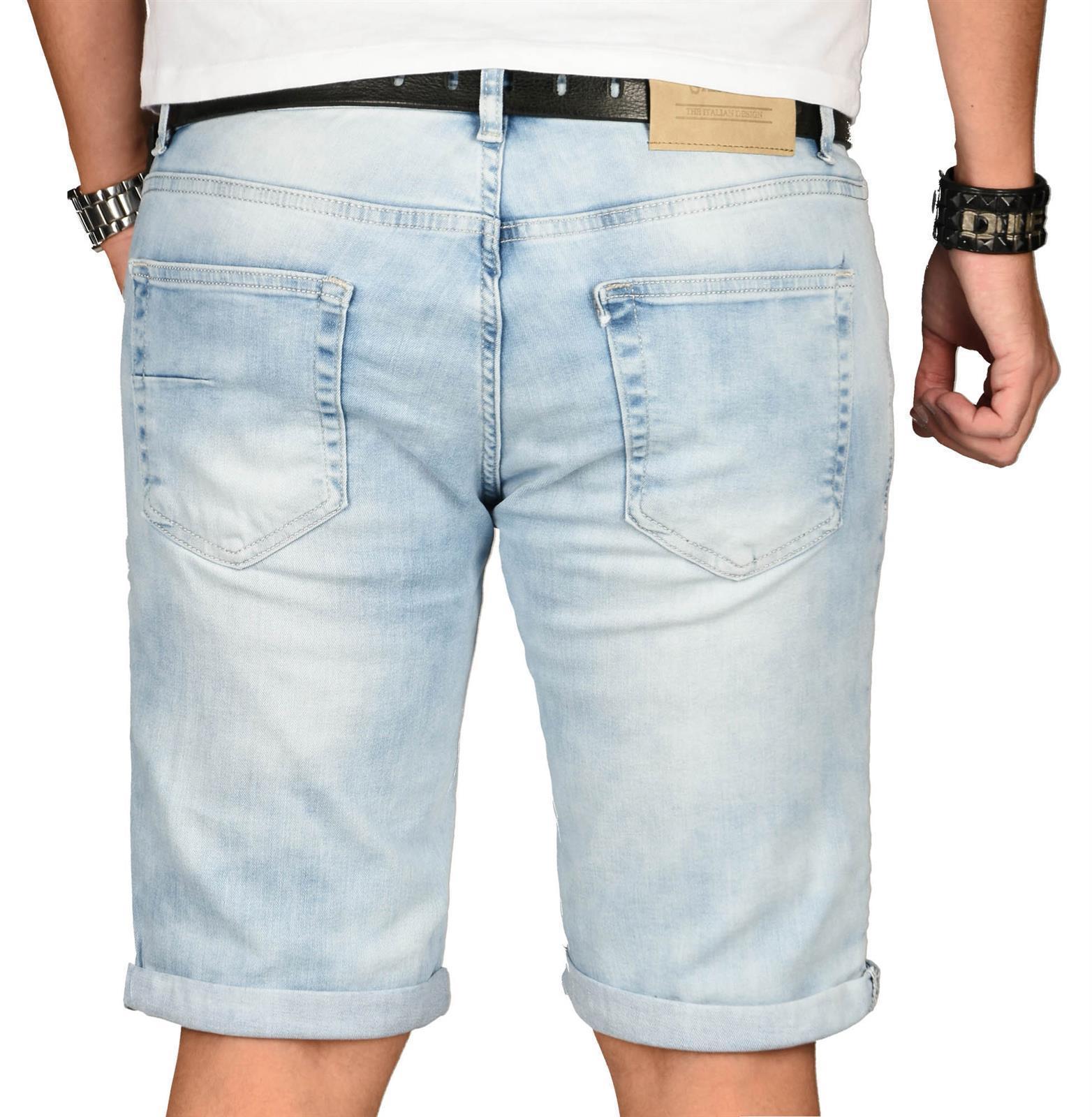 A-Salvarini-Herren-Designer-Jeans-Short-kurze-Hose-Slim-Sommer-Shorts-Washed Indexbild 13