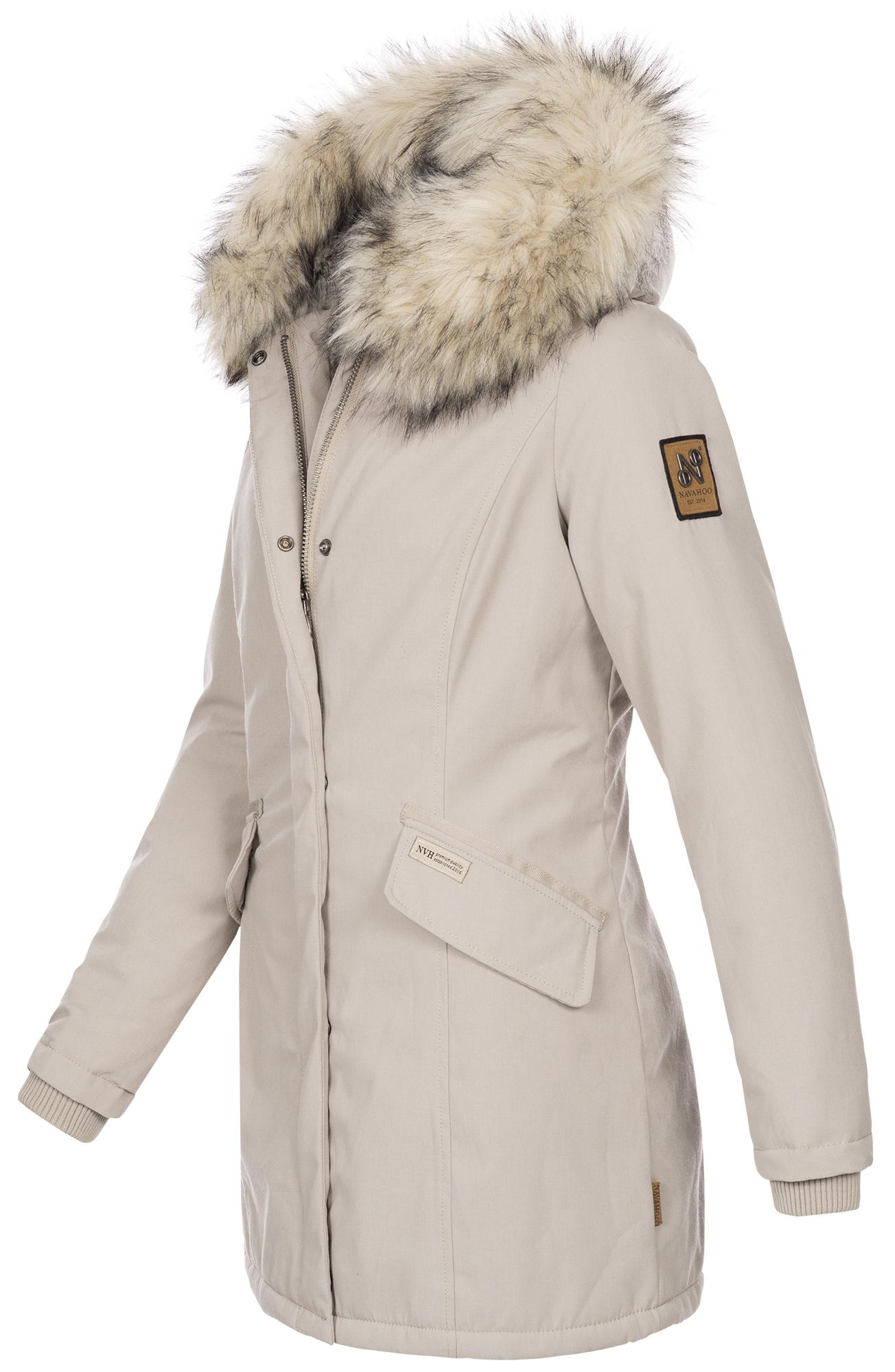 Navahoo-Premium-Damen-Winter-Jacke-Parka-Mantel-Winterjacke-warm-Kunstfell-B669 Indexbild 22