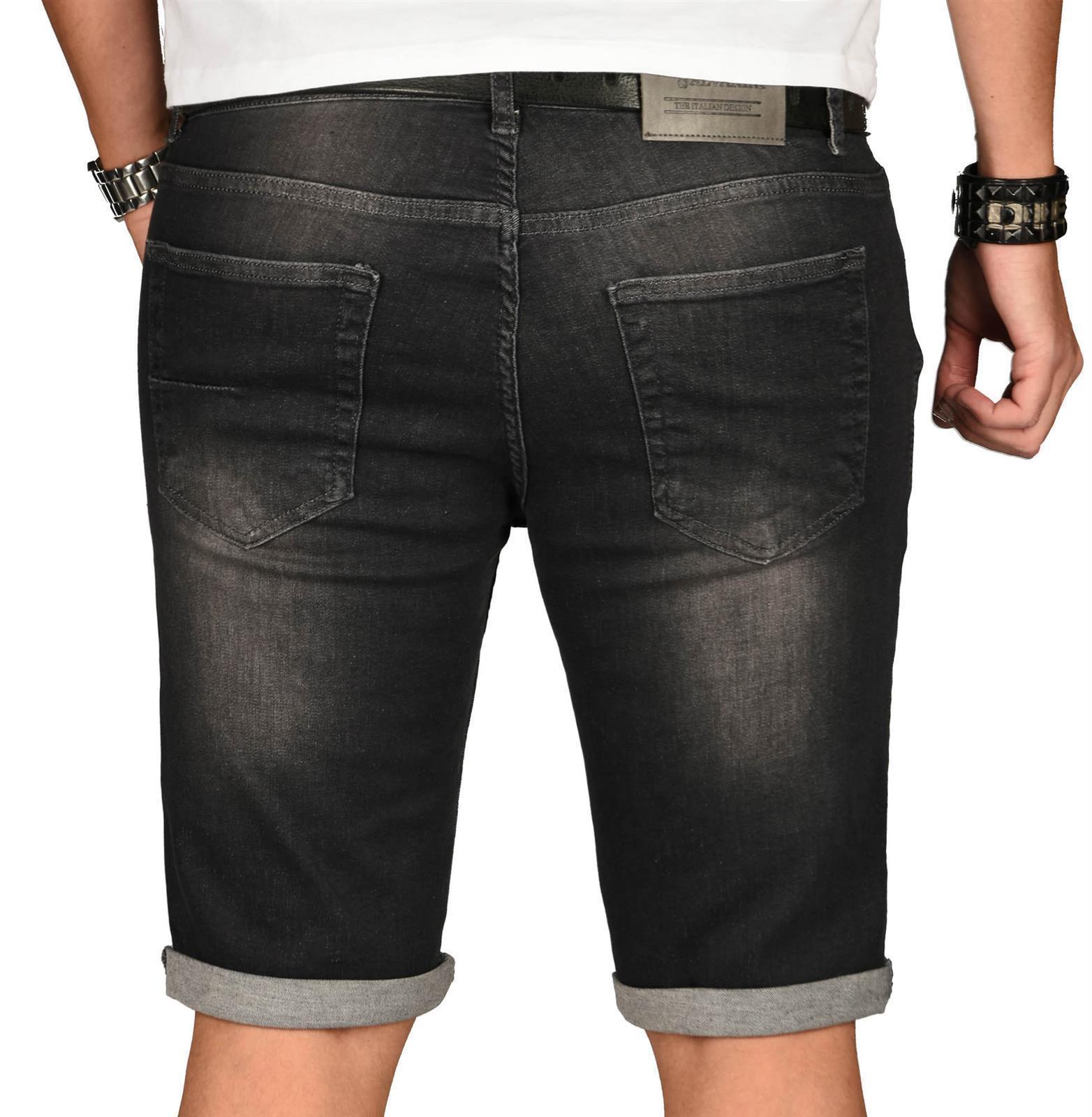 A-Salvarini-Herren-Designer-Jeans-Short-kurze-Hose-Slim-Sommer-Shorts-Washed Indexbild 49