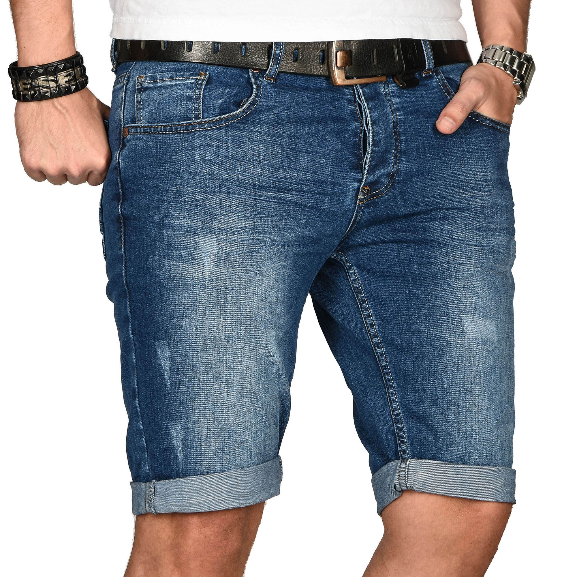 A-Salvarini-Herren-Designer-Jeans-Short-kurze-Hose-Slim-Sommer-Shorts-Bermuda Indexbild 21