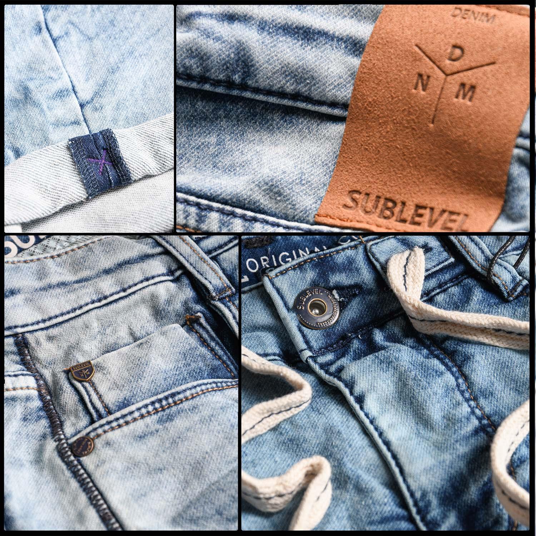 Sublevel-Herren-Sweat-Jeans-Shorts-kurze-Hose-Bermuda-Sommer-Sweathose-Slim-NEU Indexbild 16