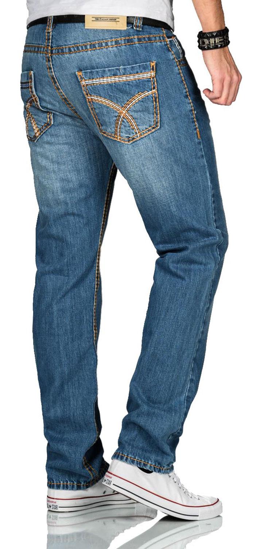 A-Salvarini-Herren-Jeans-Hose-dicke-Naehte-Jeanshose-Comfort-Fit-gerades-Bein Indexbild 13