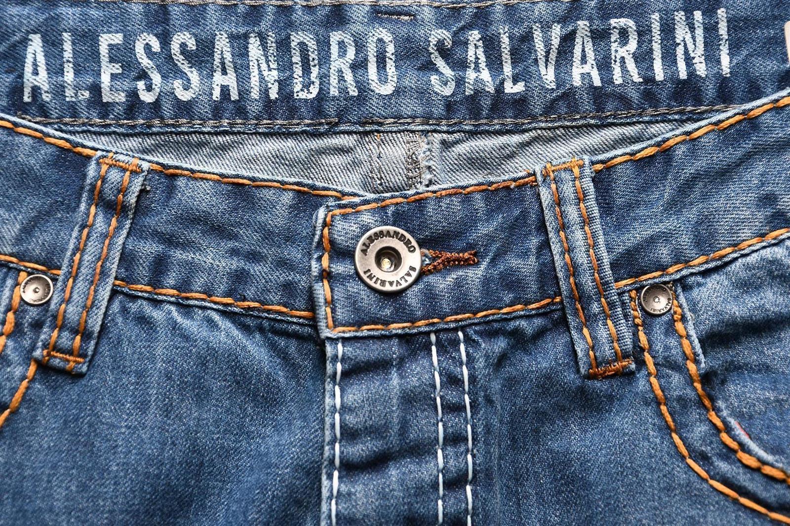 A-Salvarini-Herren-Jeans-Hose-dicke-Naehte-Jeanshose-Comfort-Fit-gerades-Bein Indexbild 15