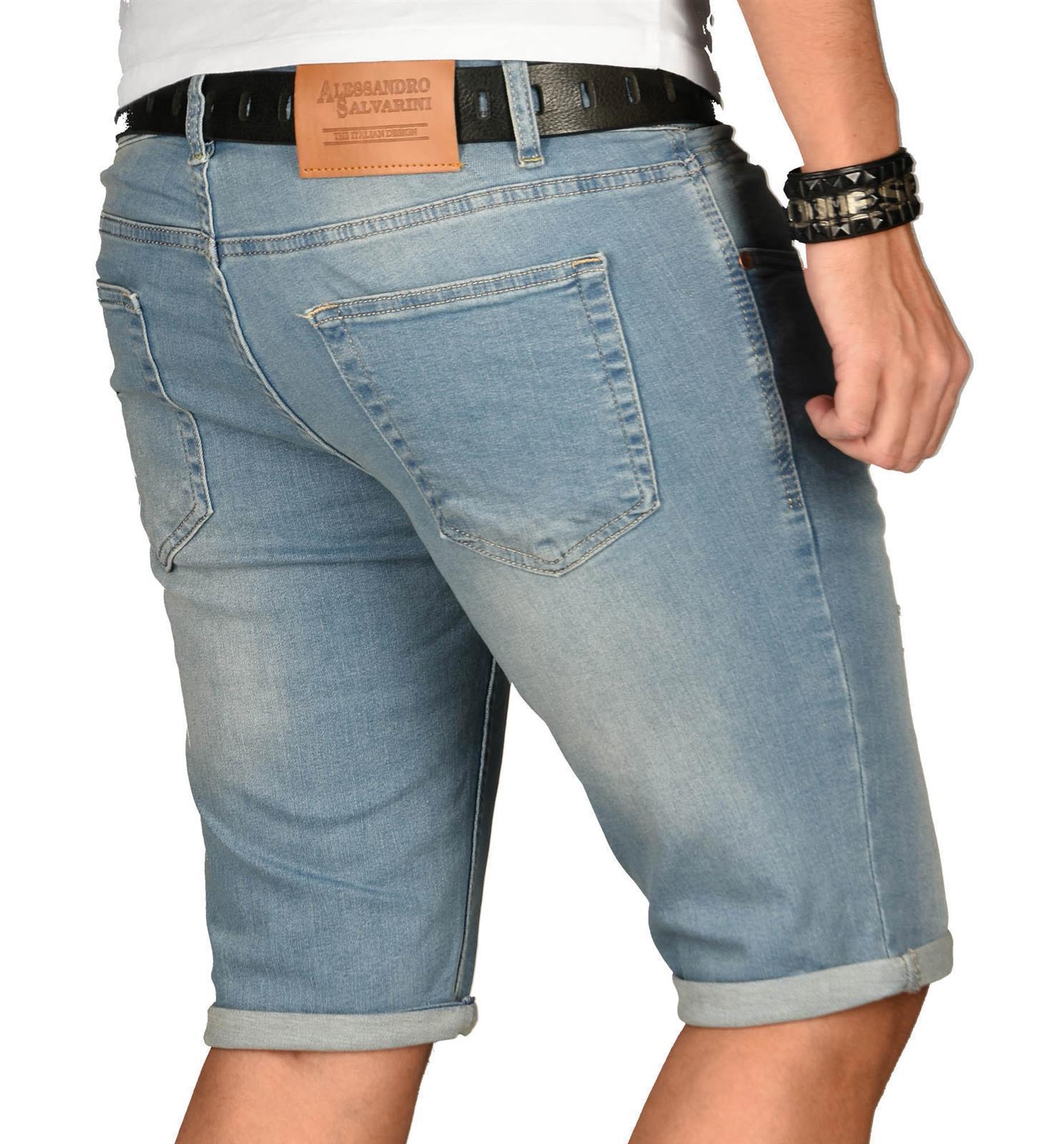 A-Salvarini-Herren-Designer-Jeans-Short-kurze-Hose-Slim-Sommer-Shorts-Washed Indexbild 24