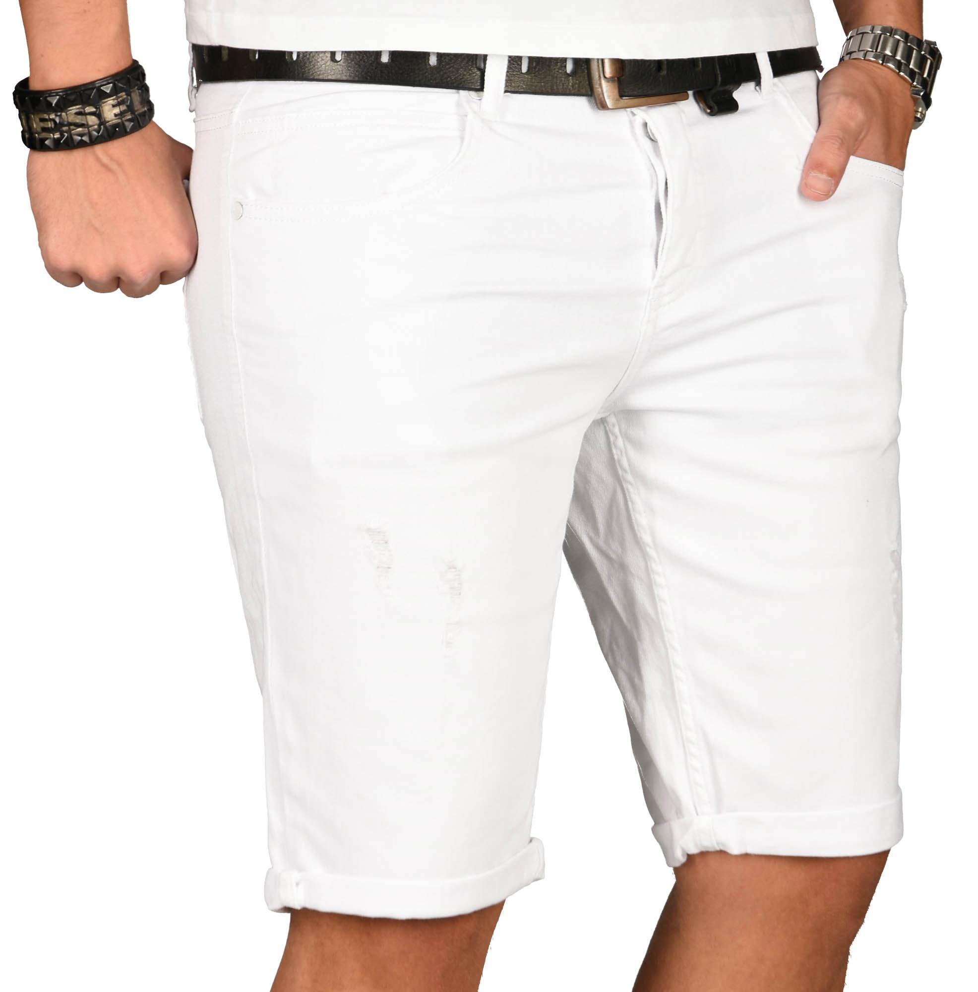 A-Salvarini-Herren-Designer-Jeans-Short-kurze-Hose-Slim-Sommer-Shorts-Washed Indexbild 3