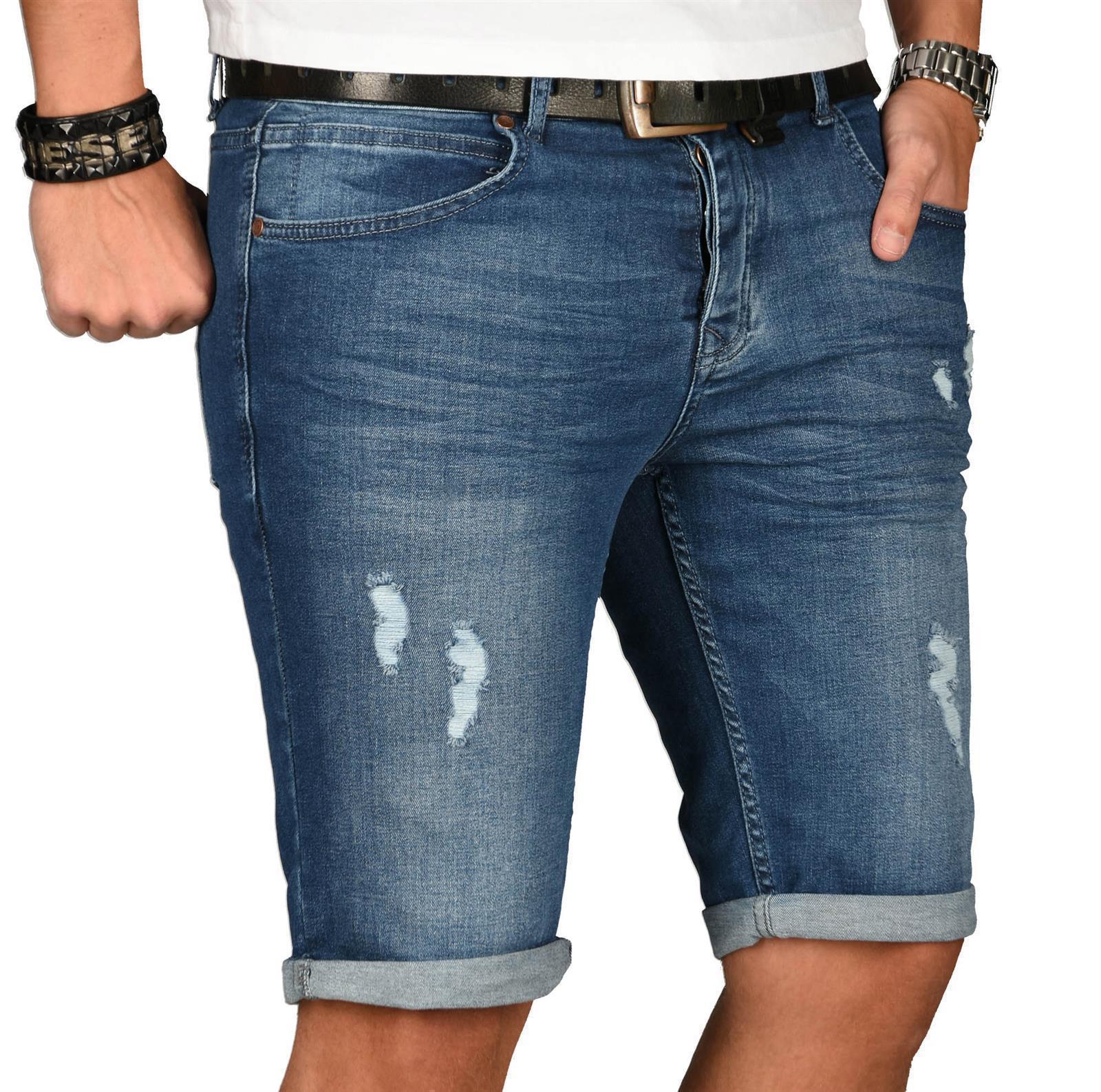 A-Salvarini-Herren-Designer-Jeans-Short-kurze-Hose-Slim-Sommer-Shorts-Washed Indexbild 31