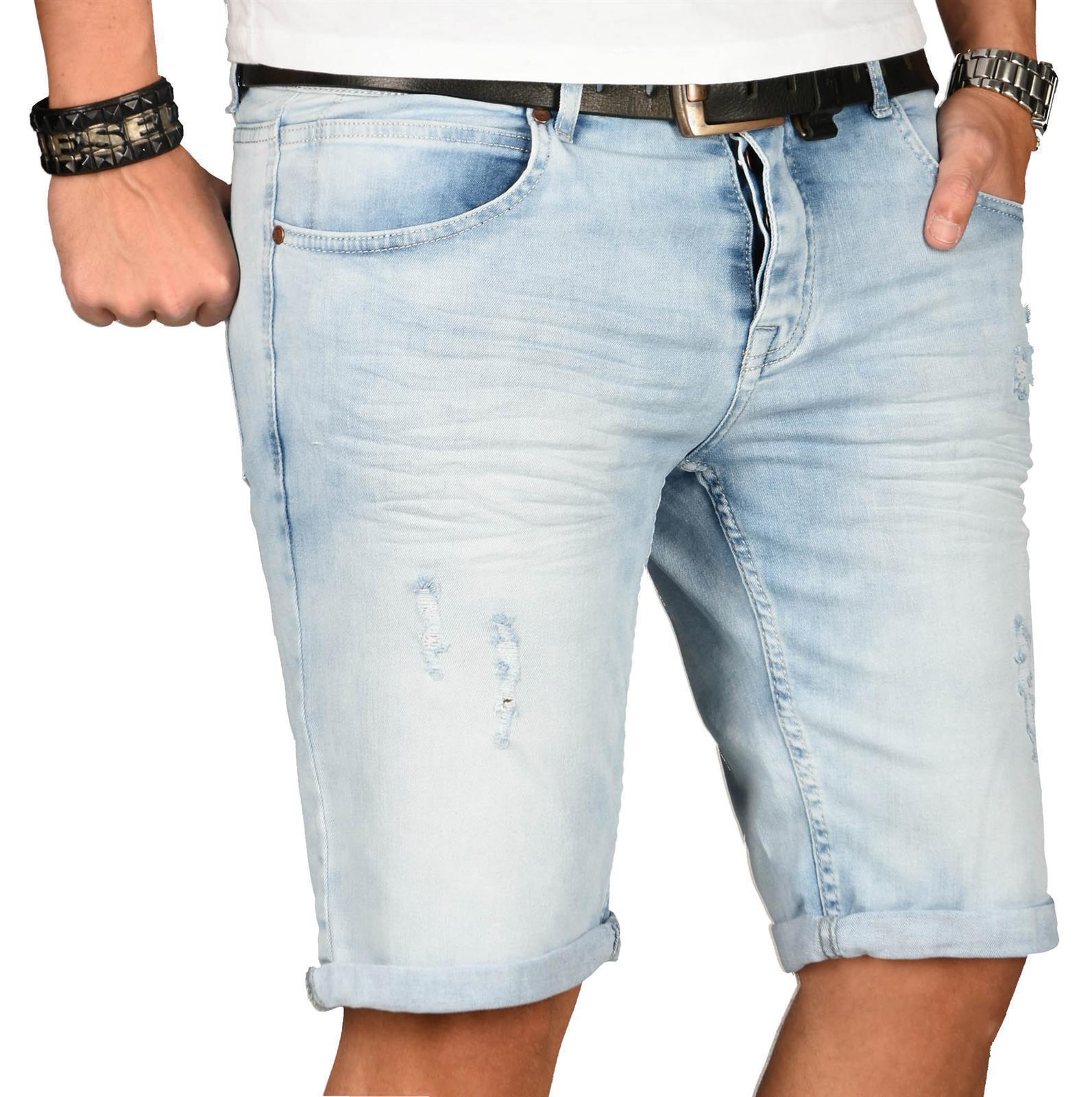 A-Salvarini-Herren-Designer-Jeans-Short-kurze-Hose-Slim-Sommer-Shorts-Washed Indexbild 11